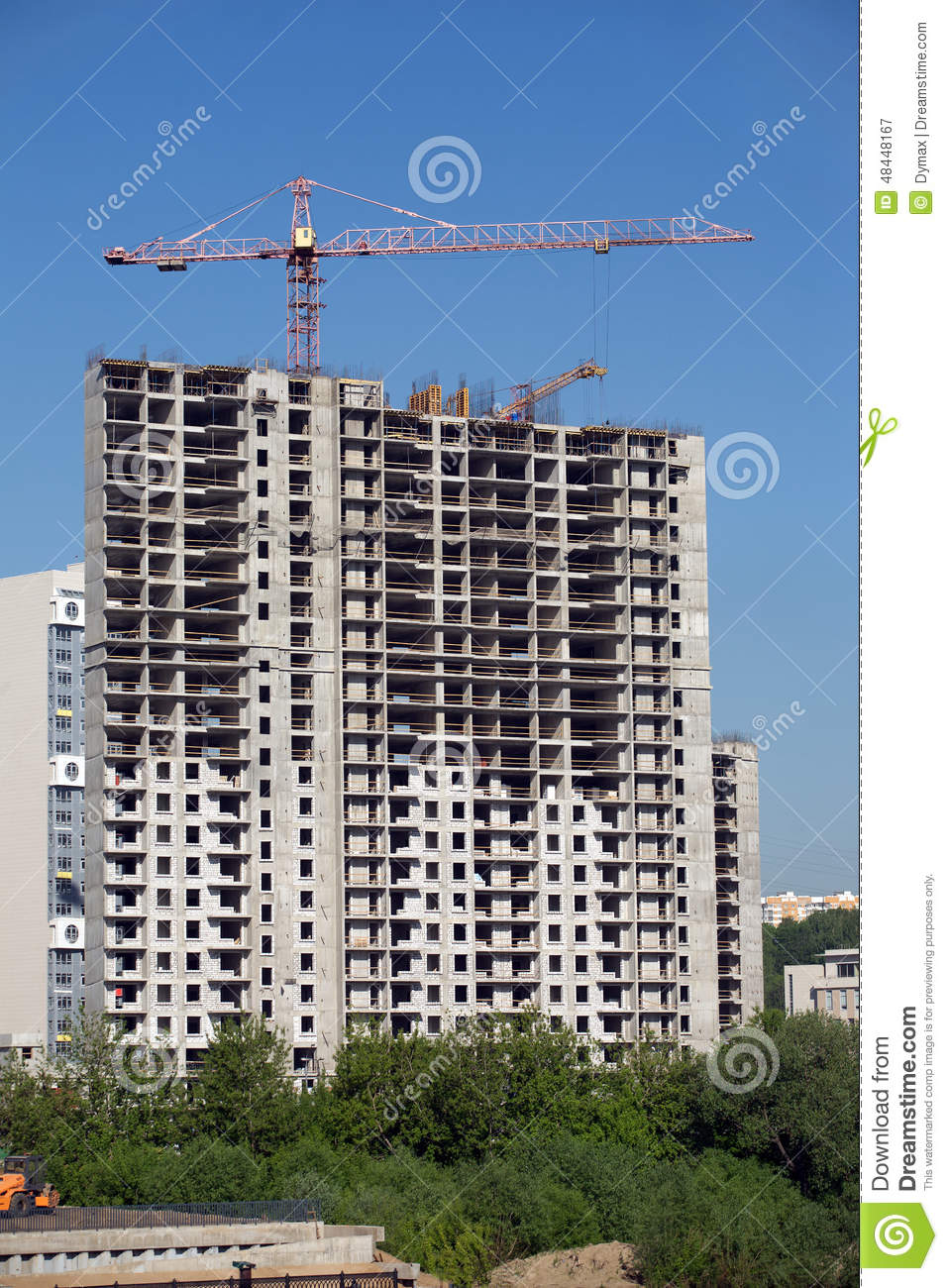 Construction of the building hoisting crane royalty free for New construction building process