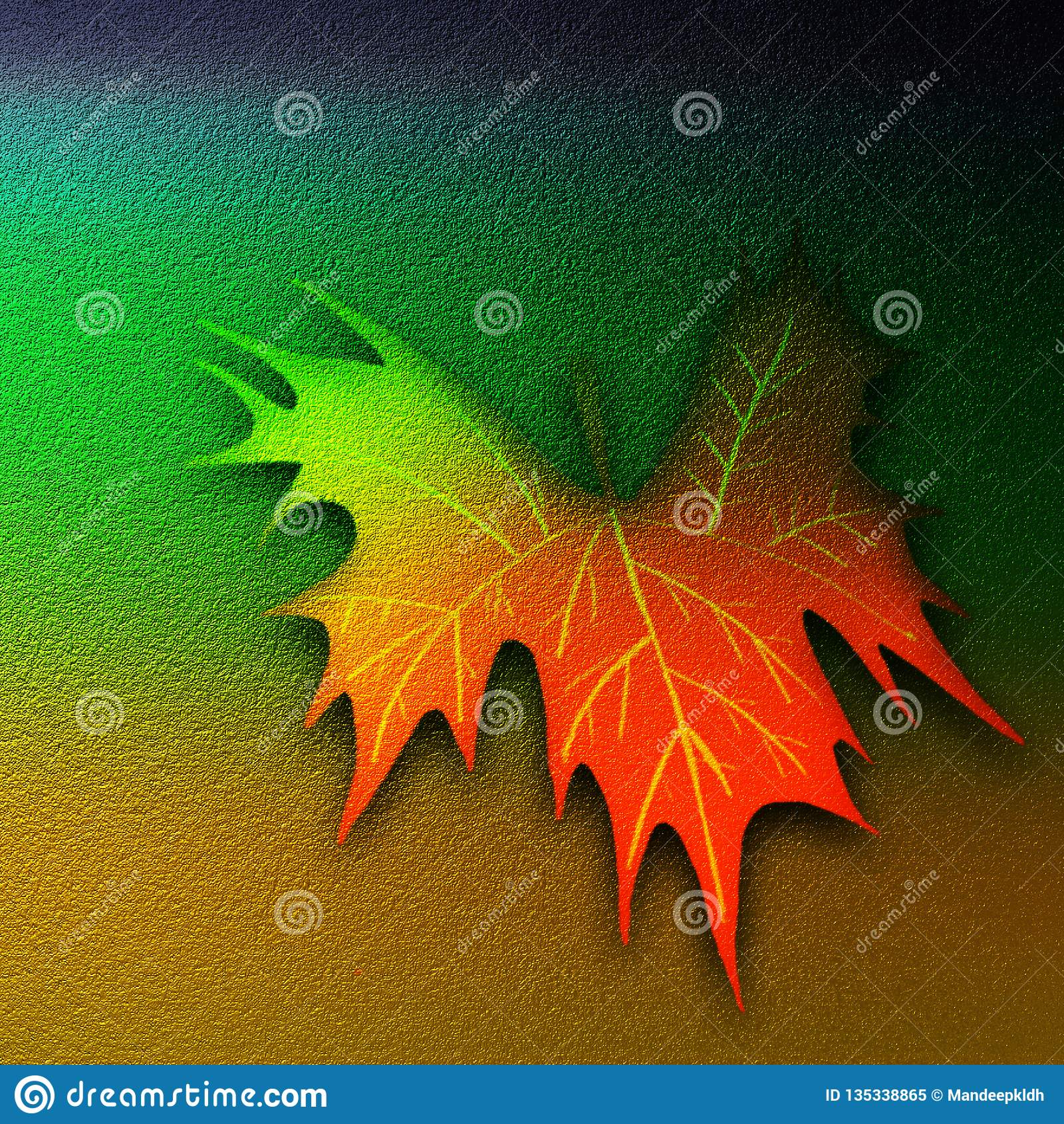Hoja abstracta de la caída grabada en relieve en superficie texturizada El otoño dibujado mano texturizó las ilustraciones modern
