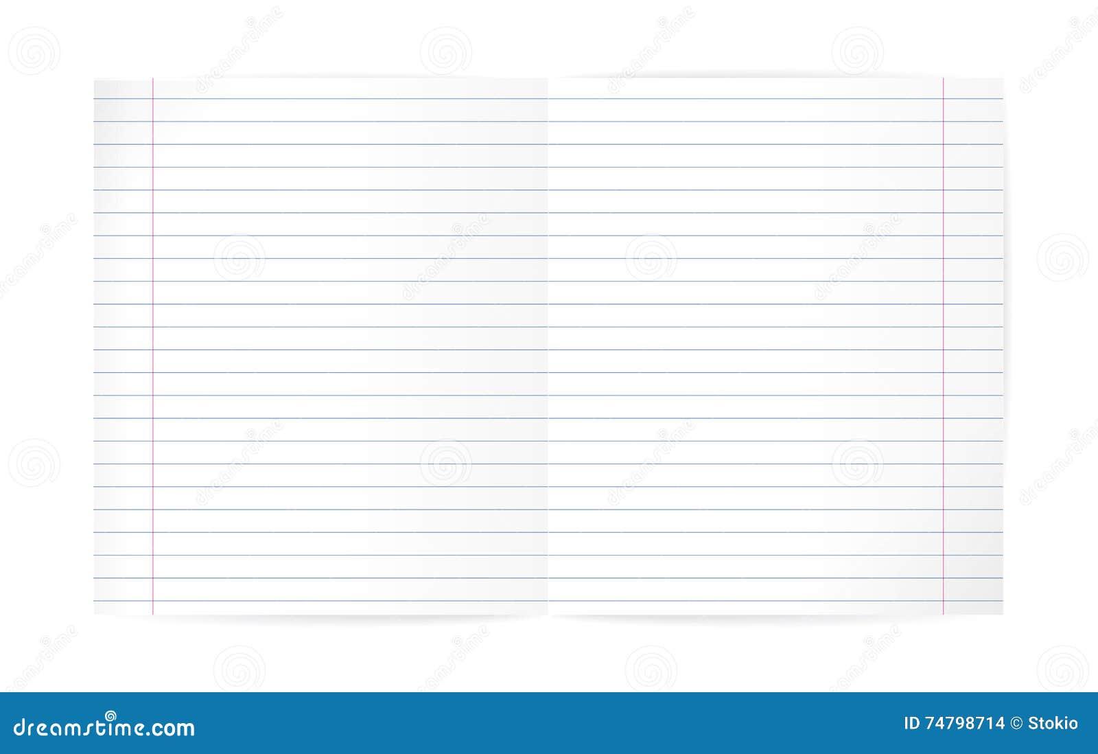 Hoja Alineada En Blanco Del Cuaderno (con Las Líneas