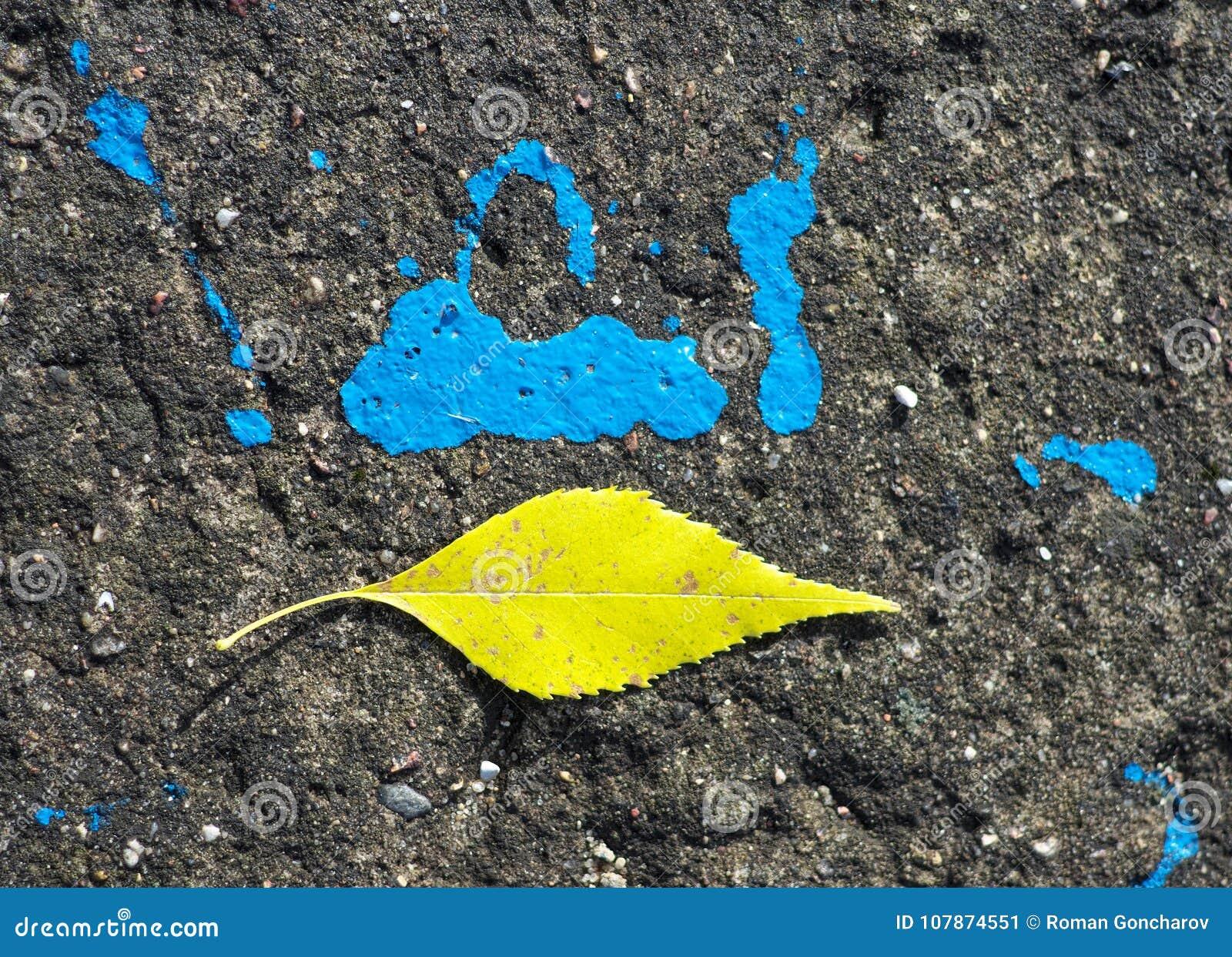 Hoja amarilla en el camino cerca de un punto azul