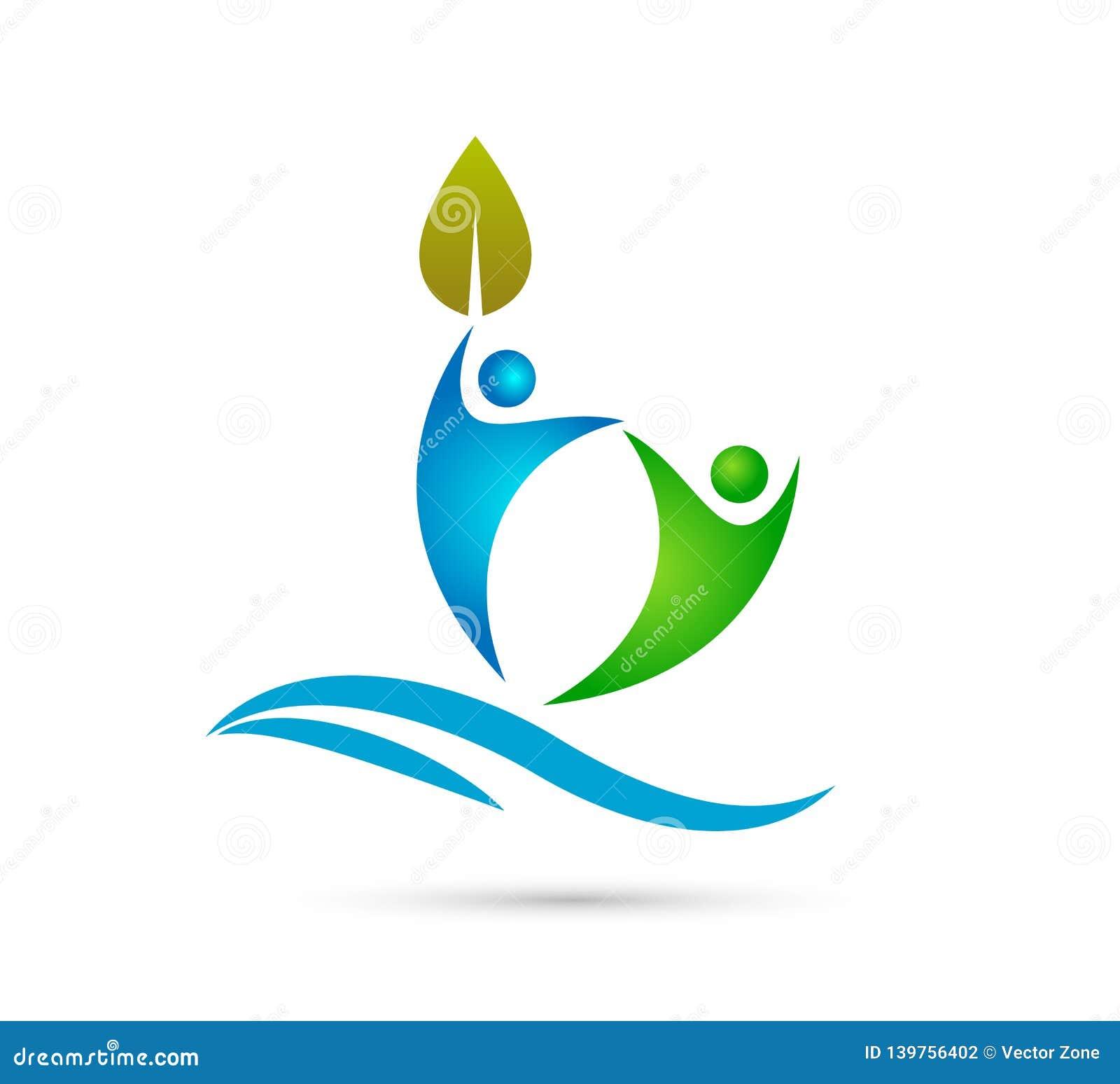 Hoja creativa del verde de Team People con la onda de agua, logotipo feliz del concepto de la gente junto