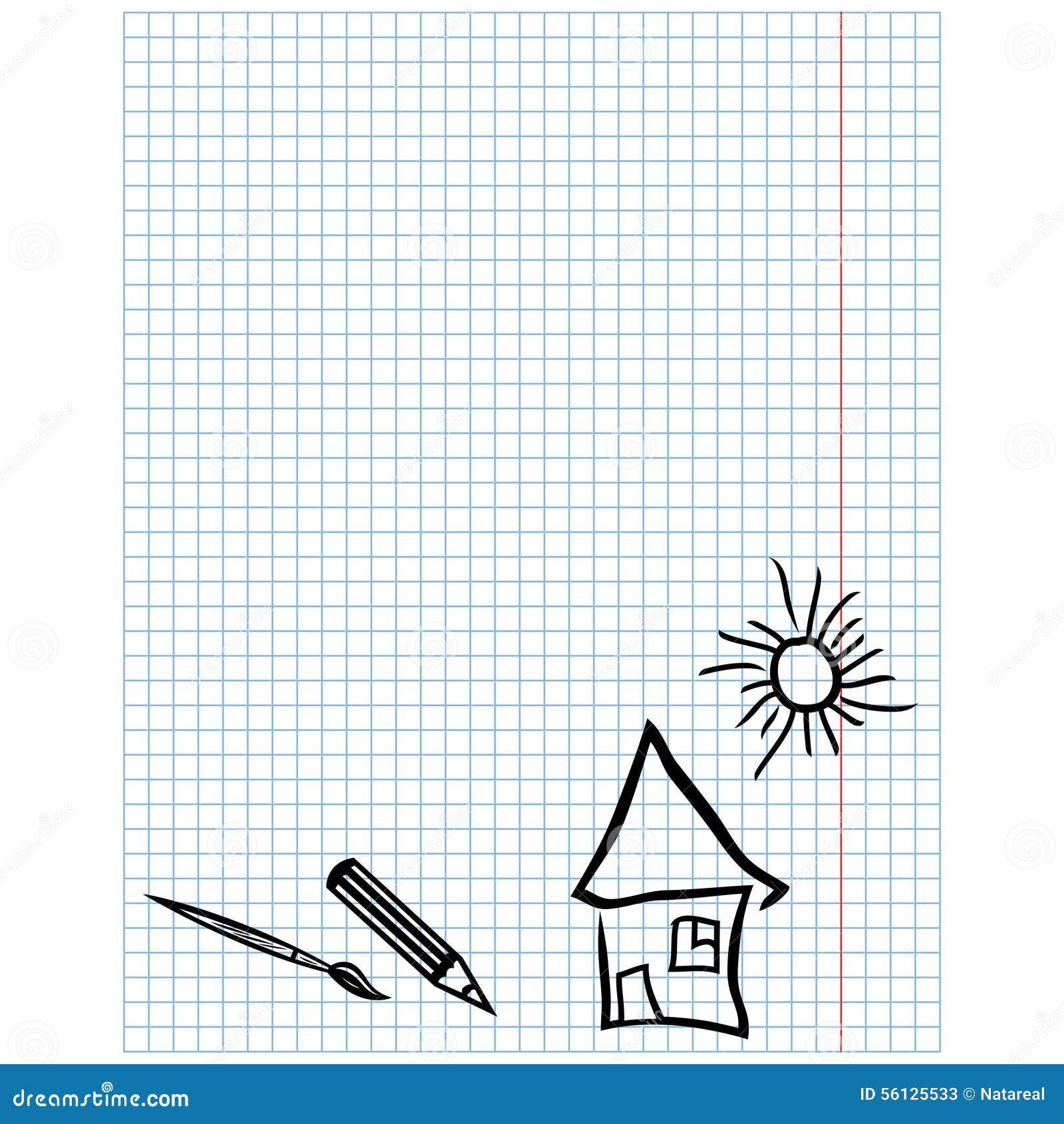 Dibujos Con Cuadros.Hoja A Cuadros Con Los Dibujos Simples Ilustracion Del Vector