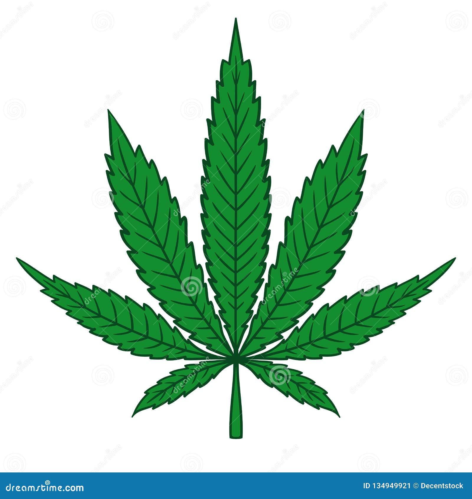 Hoja de la marijuana del cáñamo en estilo plano del vintage