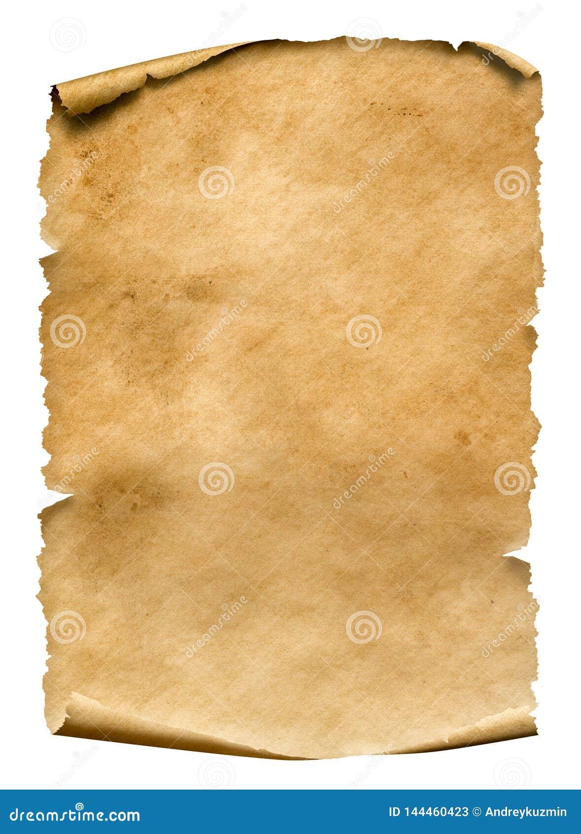 Hoja de papel gastada vieja aislada en blanco