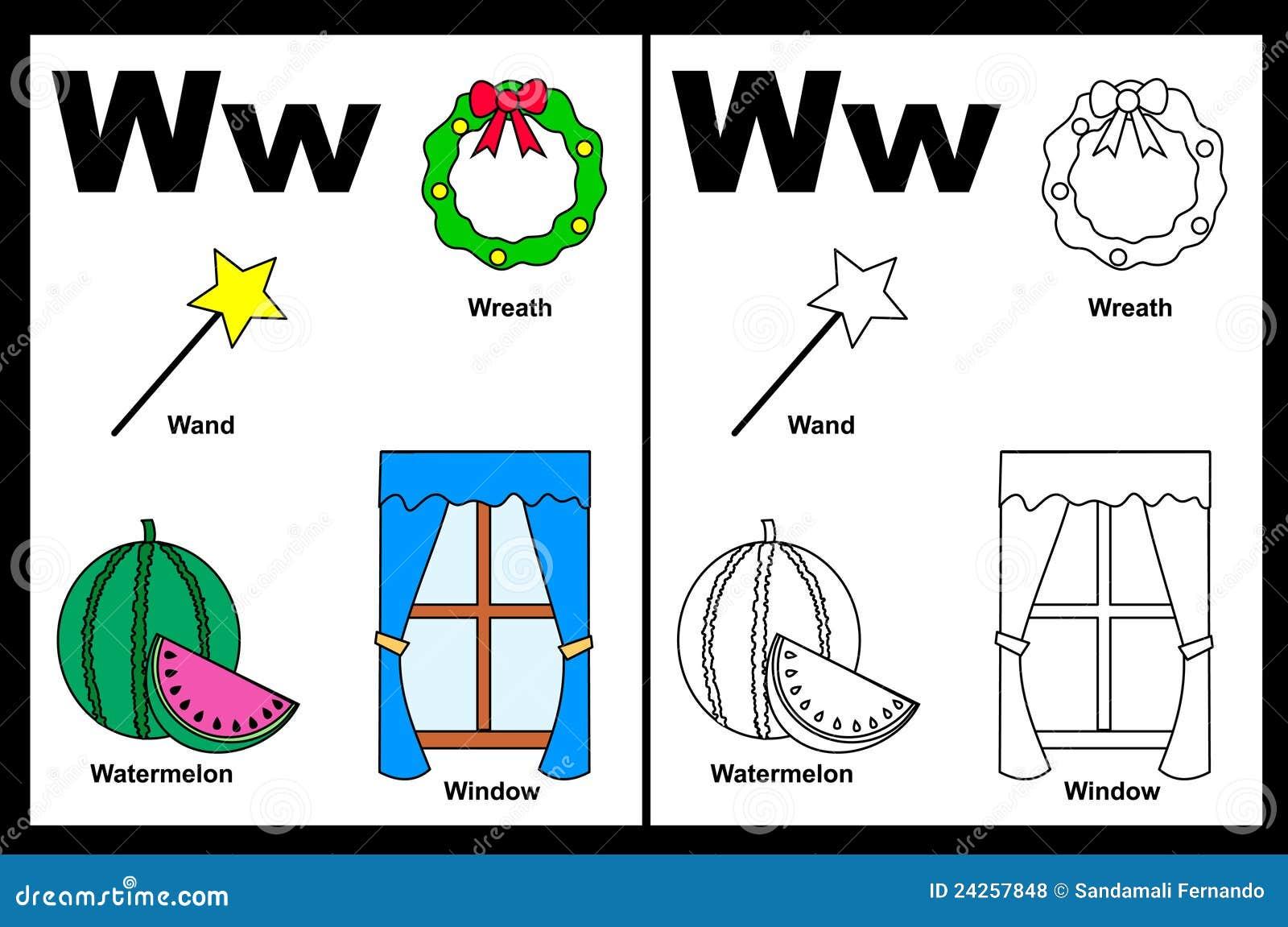 Hoja De Trabajo De La Letra W Ilustración del Vector - Ilustración ...
