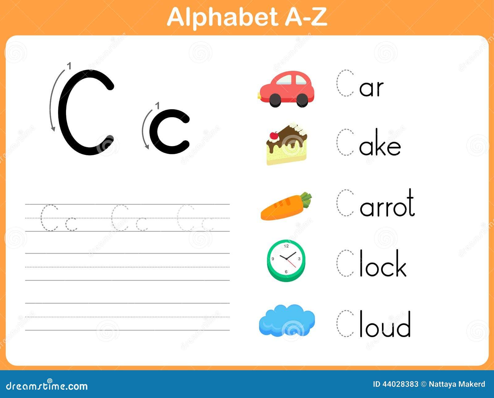 Hoja de trabajo de trazado del alfabeto