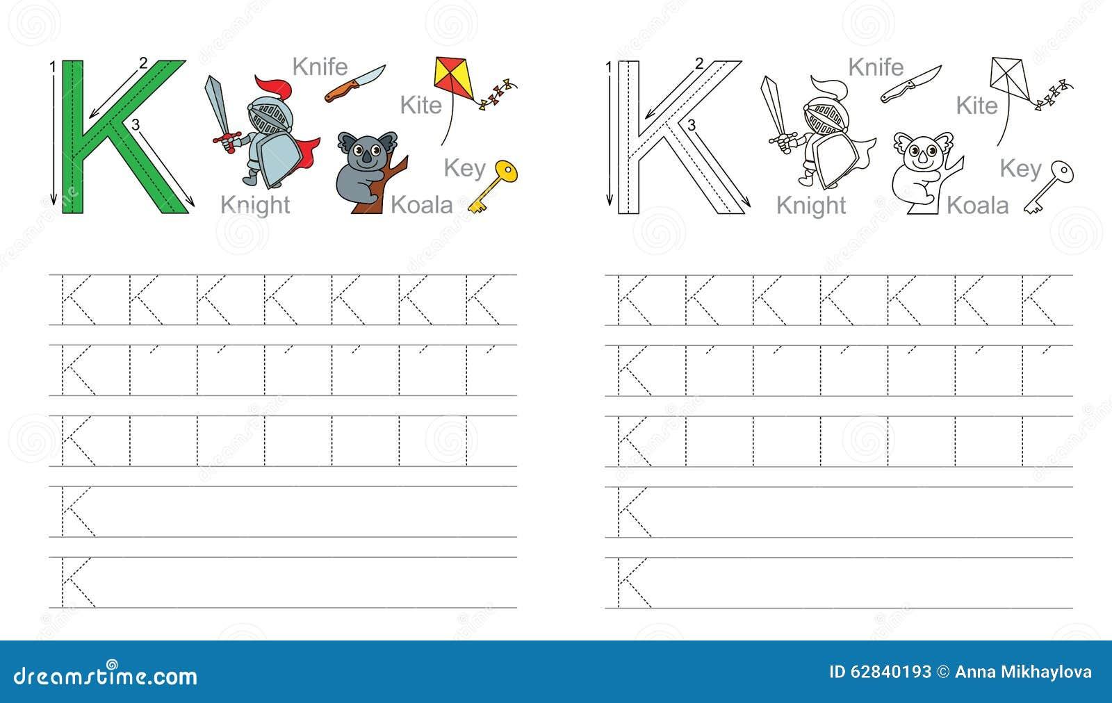 hoja de trabajo de trazado para la letra k ilustraci243n del