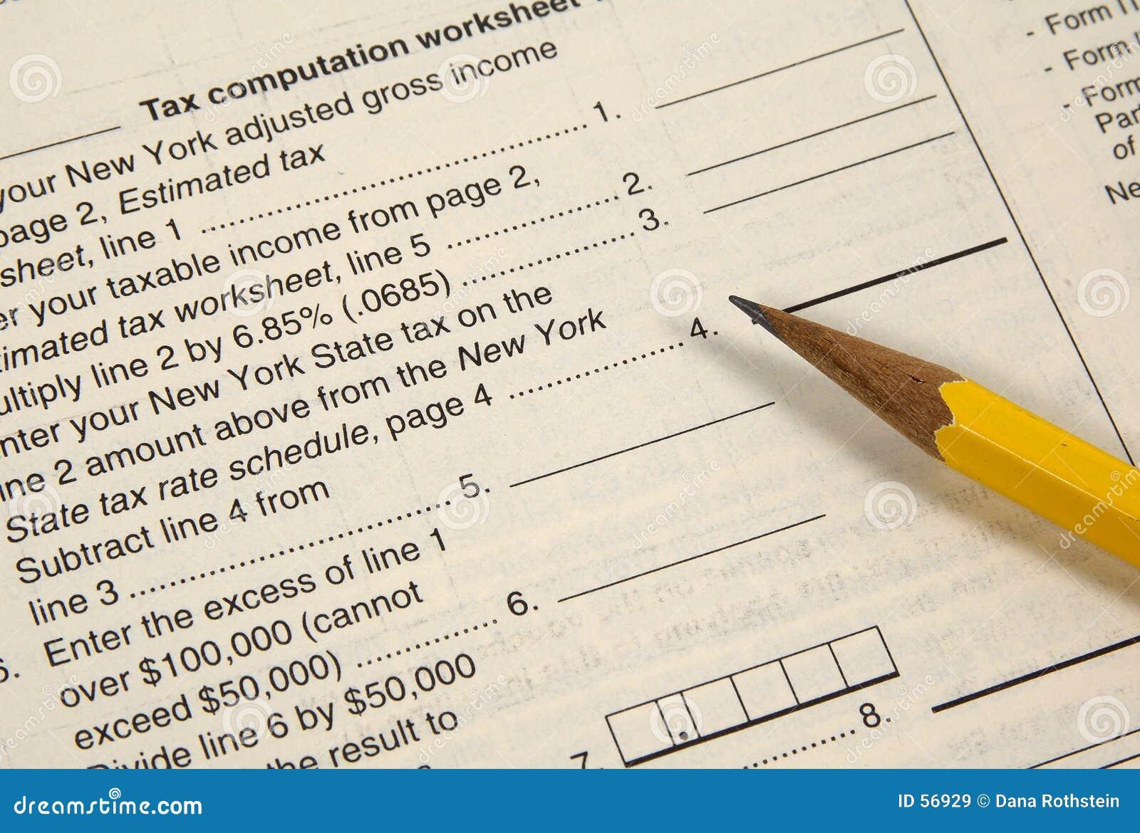 Hoja de trabajo del impuesto