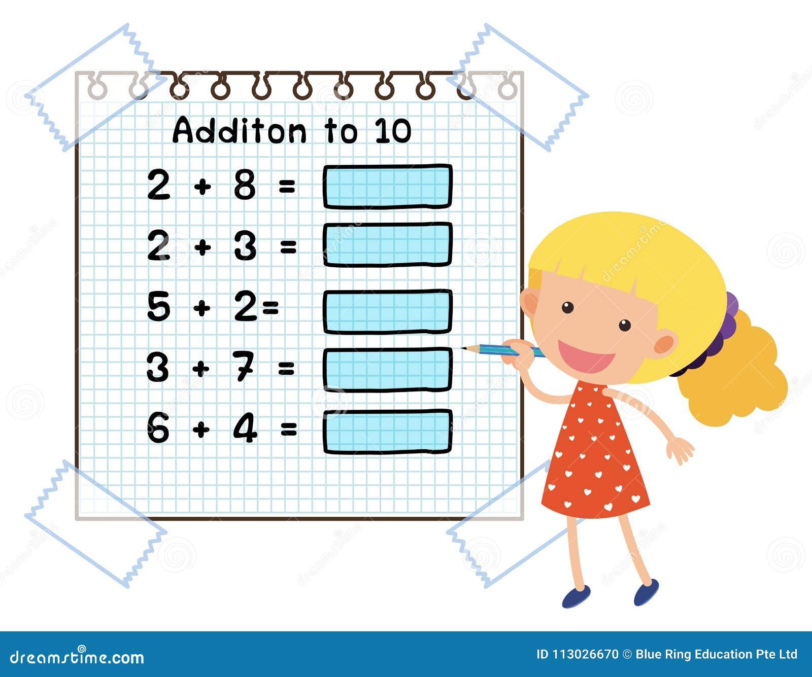 Hoja de trabajo de la matemáticas para la adición a diez