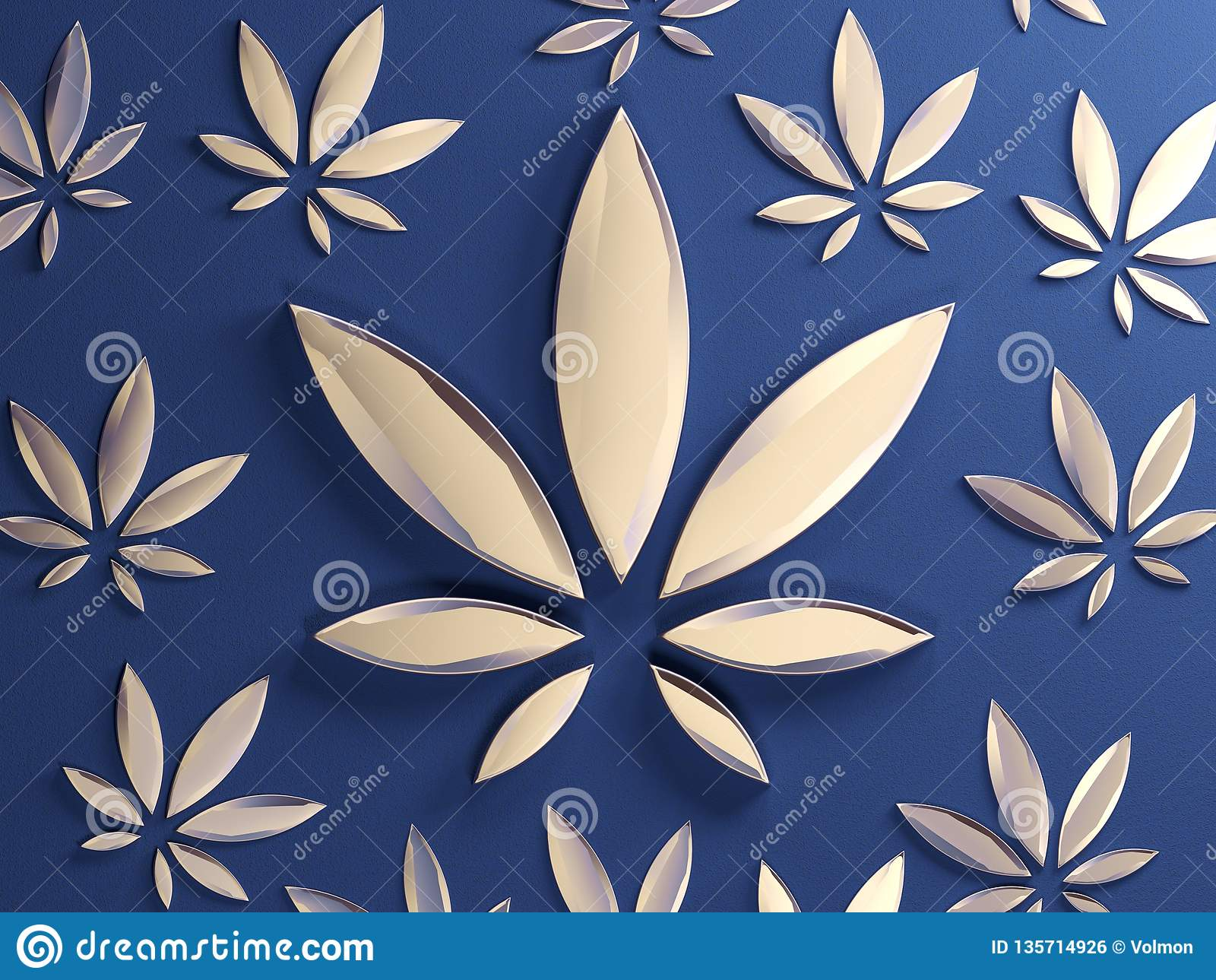 Hoja del cáñamo en fondo azul Hoja de cristal de oro de la marijuana E
