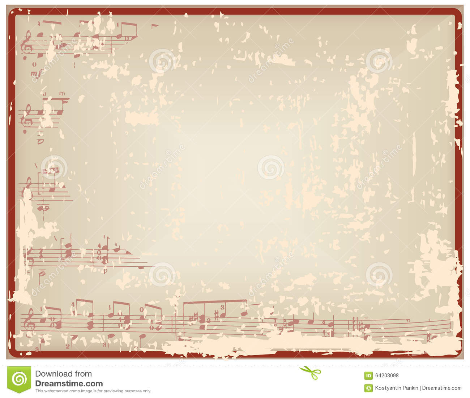 Hoja del vintage con las notas y el espacio en blanco