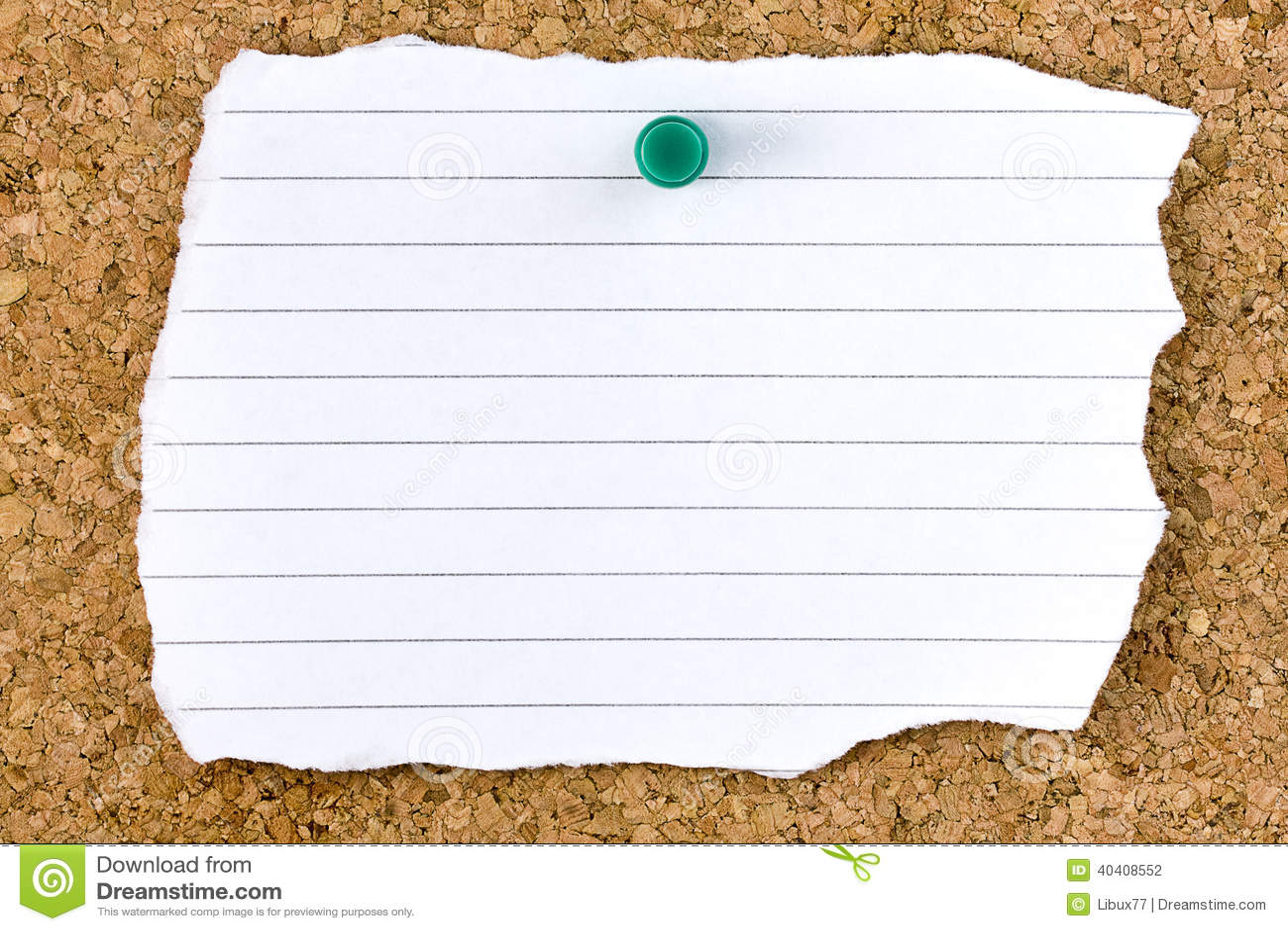 Hoja rayada blanca en blanco rasgada Cork Board Pushpin