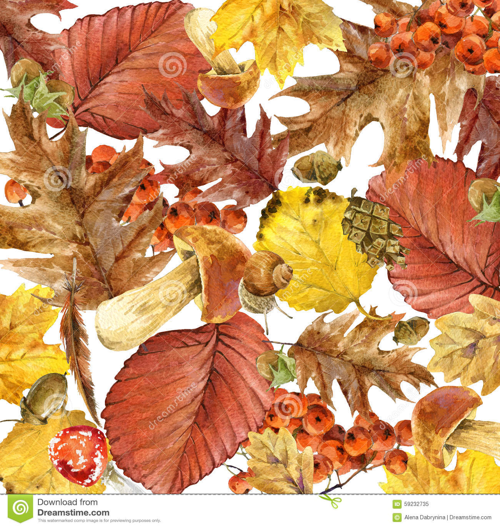 Hojas coloridas del fondo de la acuarela del otoño