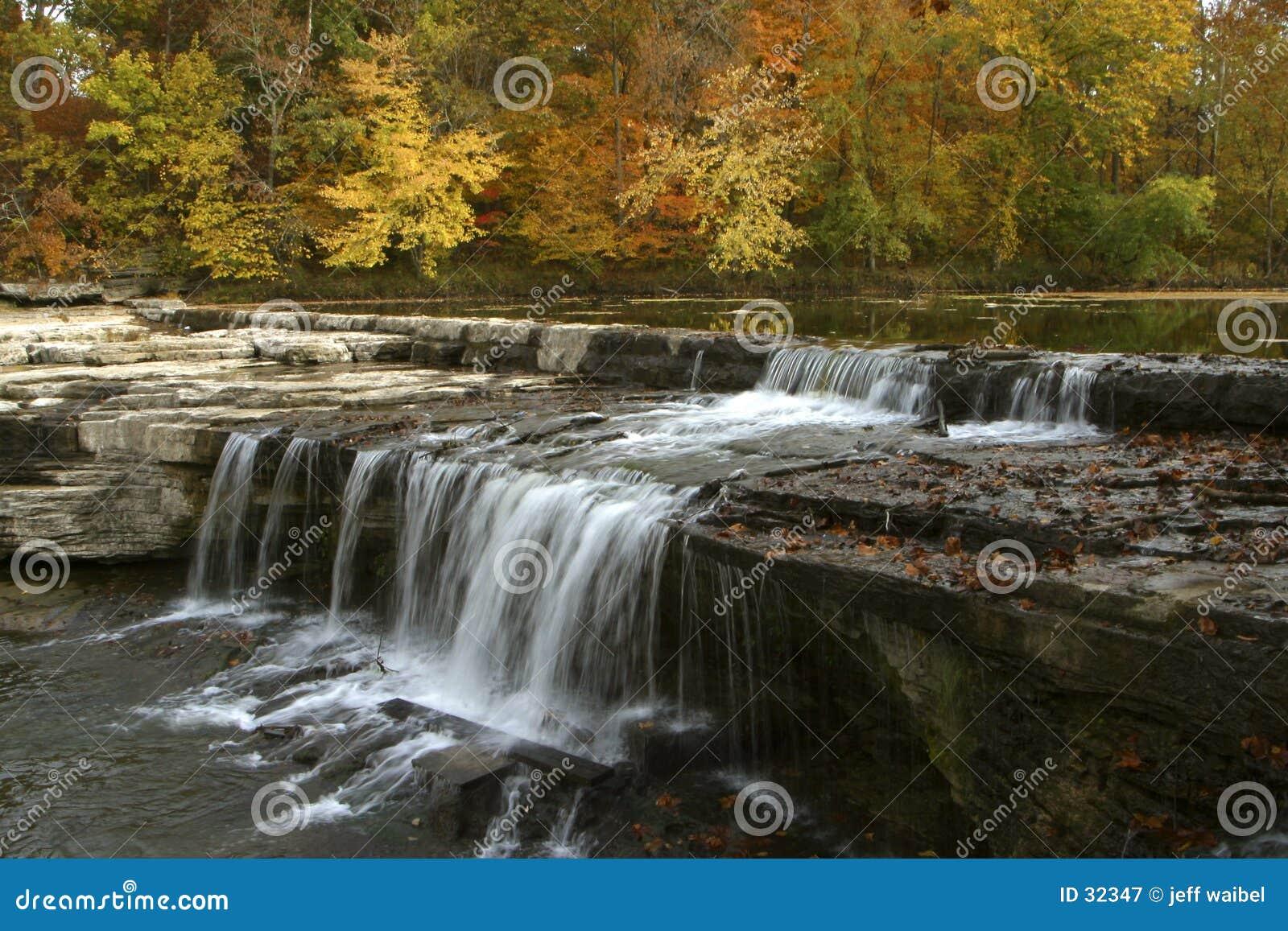 Download Hojas de otoño y cascada imagen de archivo. Imagen de anaranjado - 32347