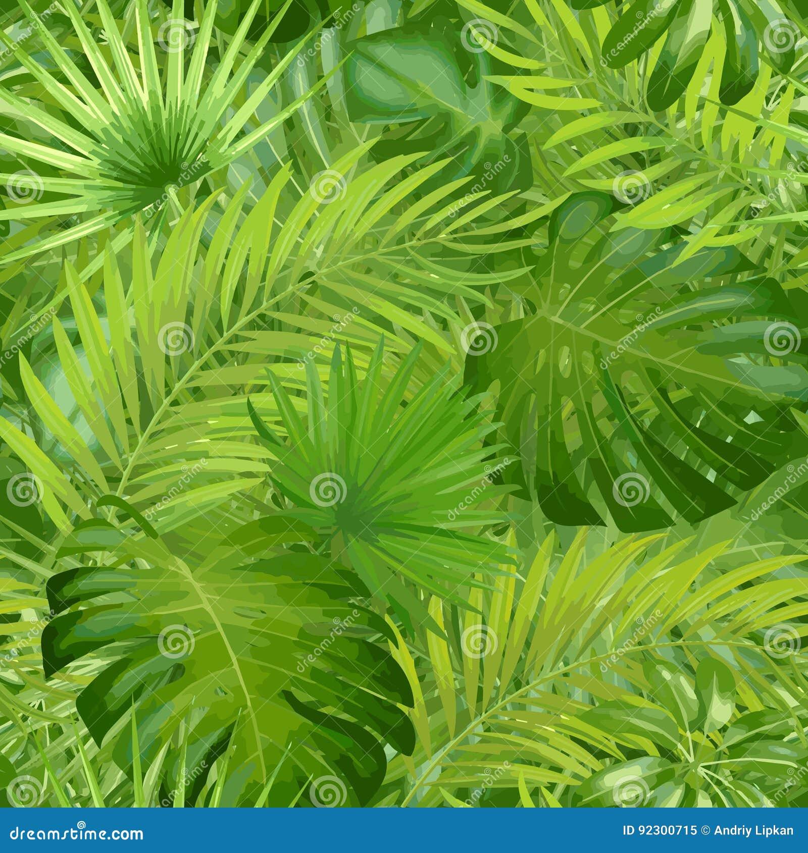 Hojas de palma tropicales, fondo inconsútil del estampado de flores del vector de la hoja de la selva