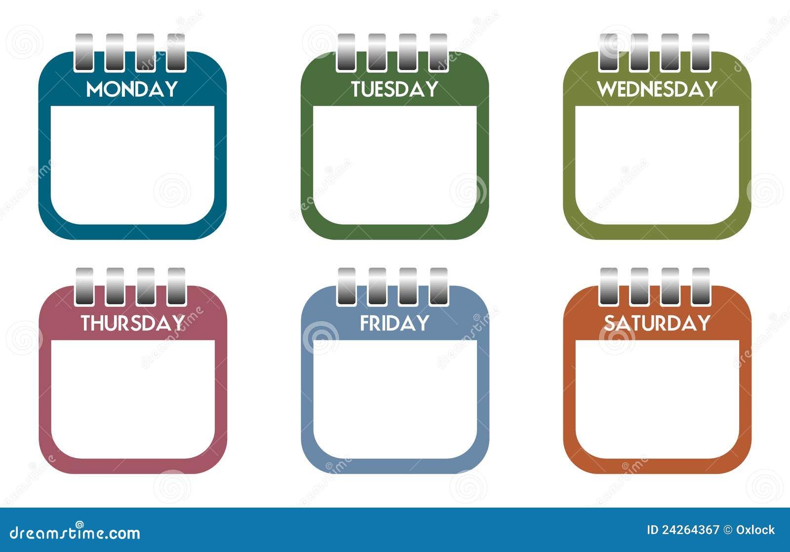Hojas Del Calendario Del Día De La Semana Fotografía de archivo ...