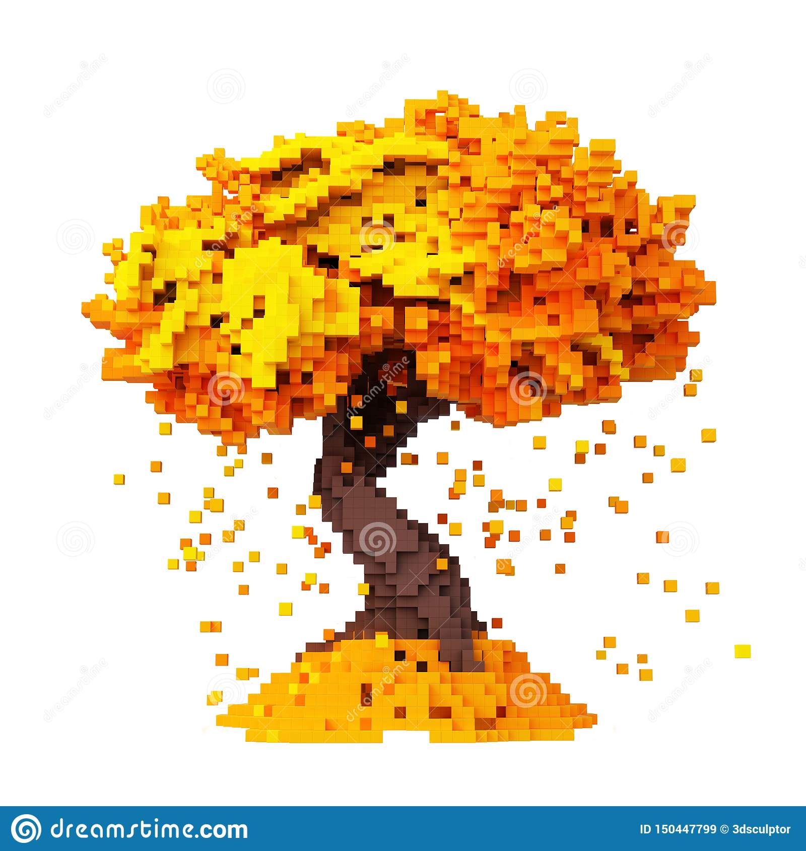 Hojas que caen de Digitaces Pixelated de un fondo de Autumn Tree Isolated On White