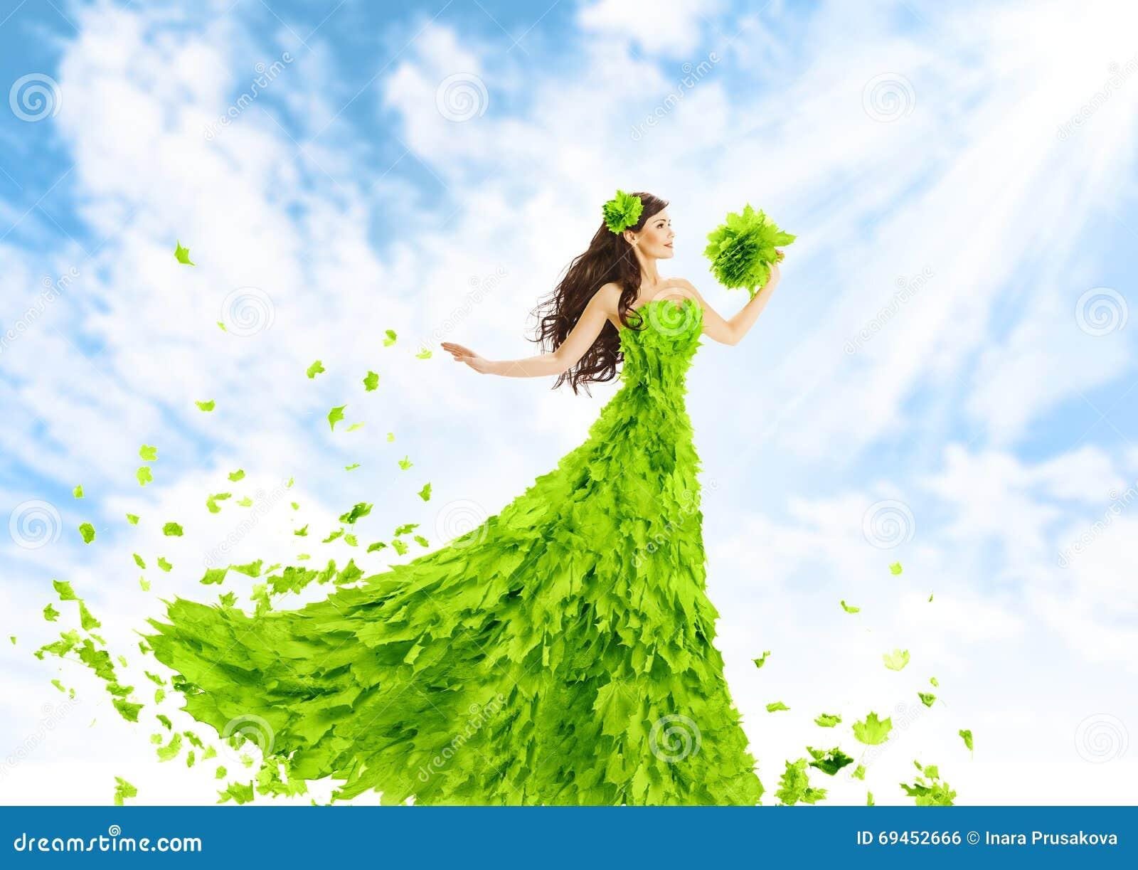 Hojas vestido, muchacha del verde de la mujer de la belleza de la moda de la naturaleza en la hoja Gow