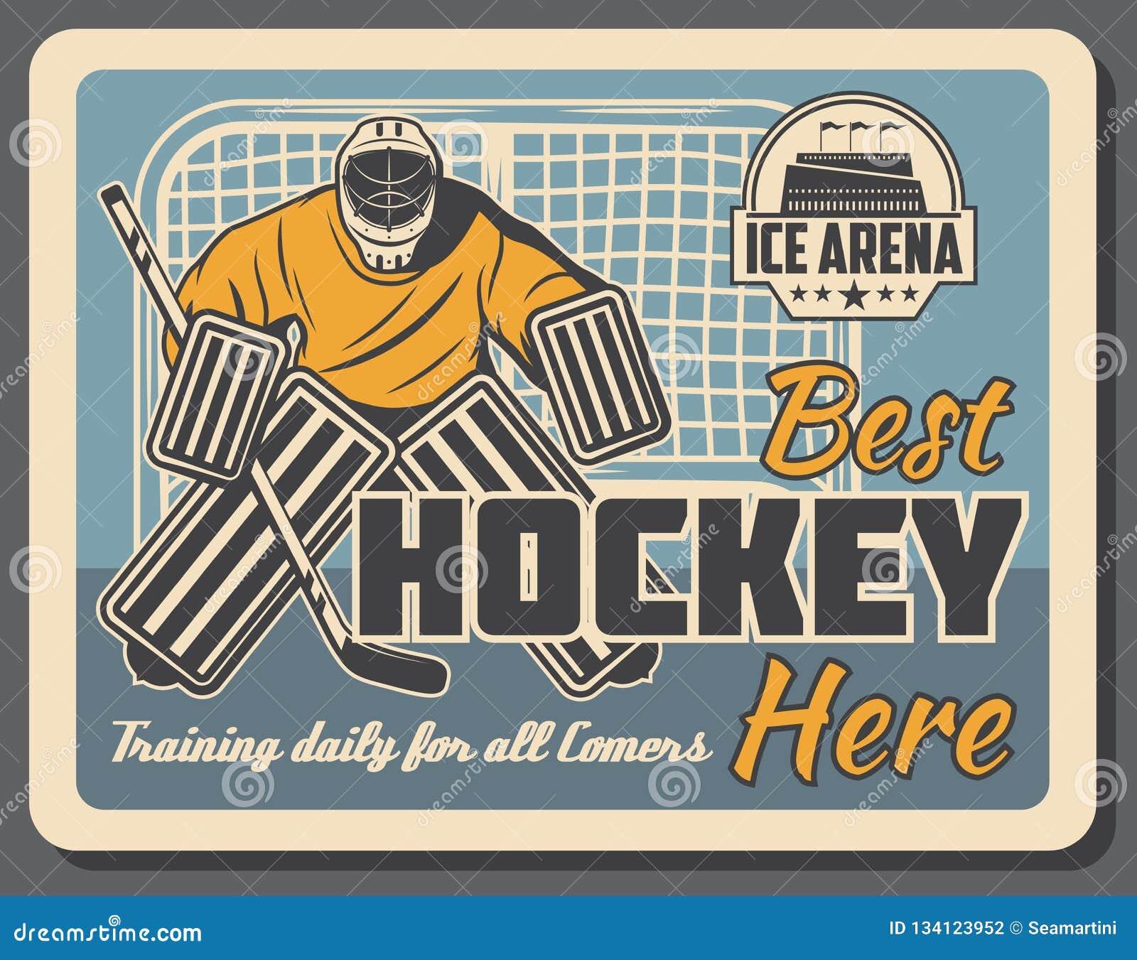Hokeja na lodzie bramkarz w bramach na lodowisko arenie