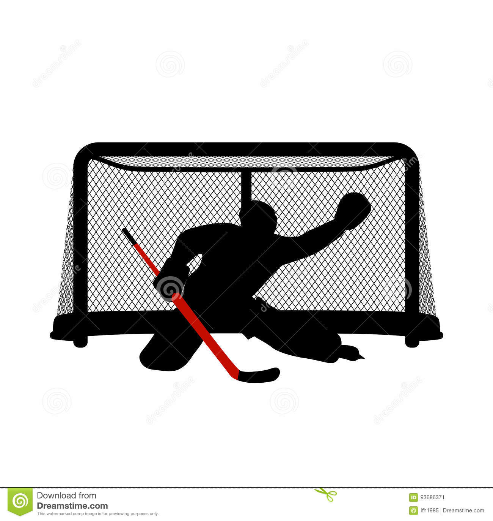 Hokejowa bramkarz sylwetka