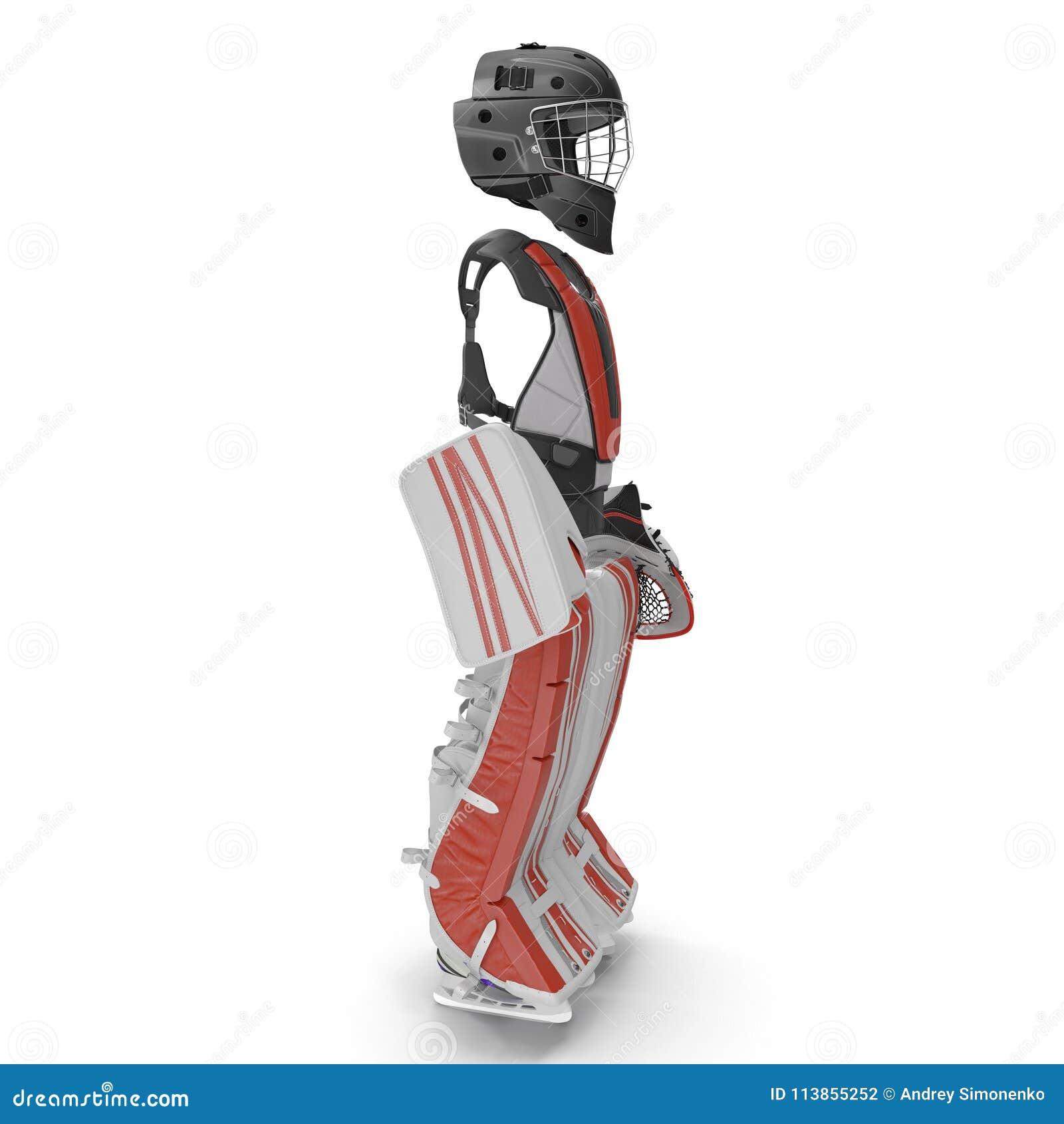 Hokejowy bramkarz ochrony zestaw na bielu Boczny widok ilustracja 3 d