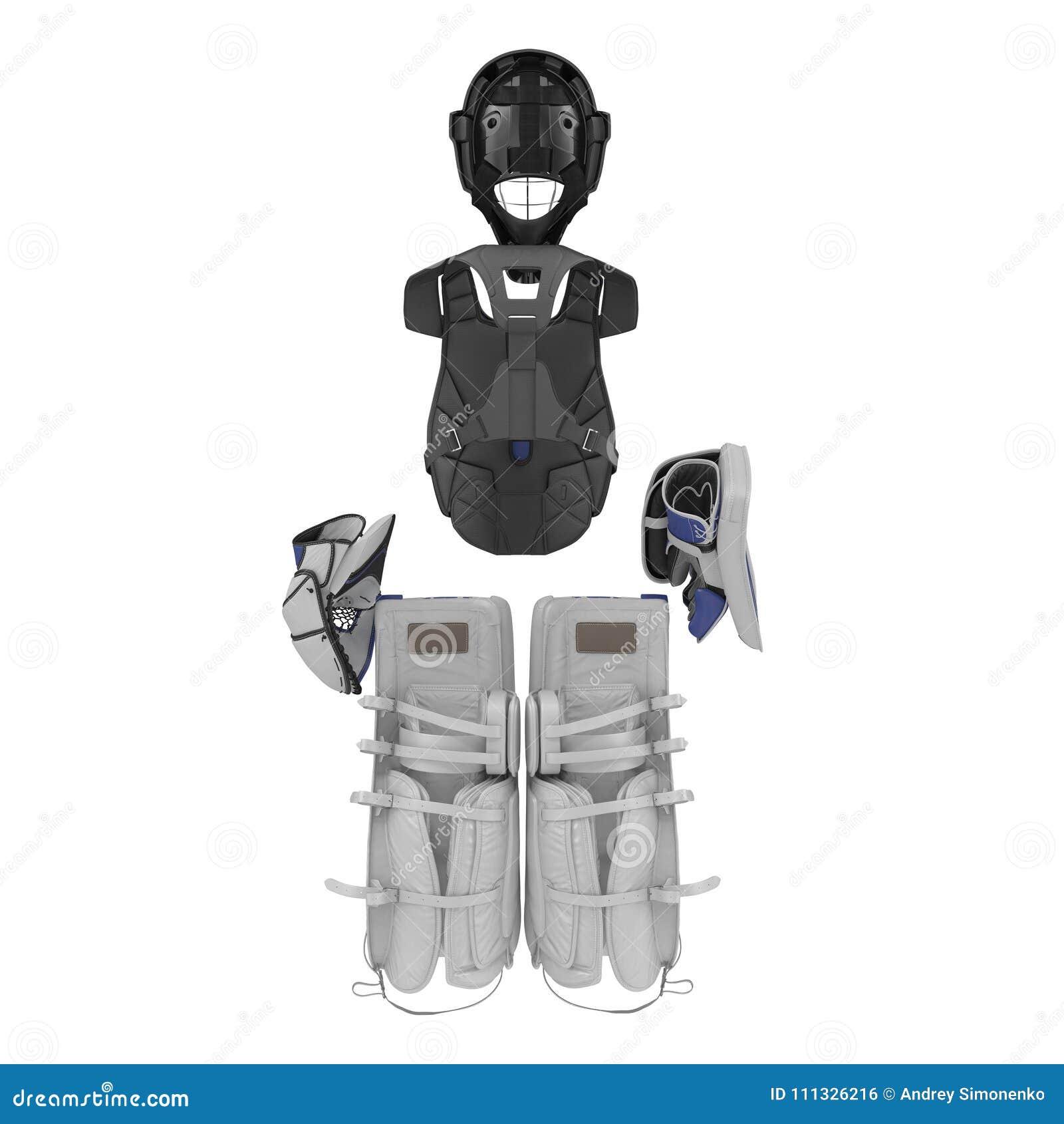 Hokejowy bramkarz ochrony zestaw na bielu ilustracja 3 d
