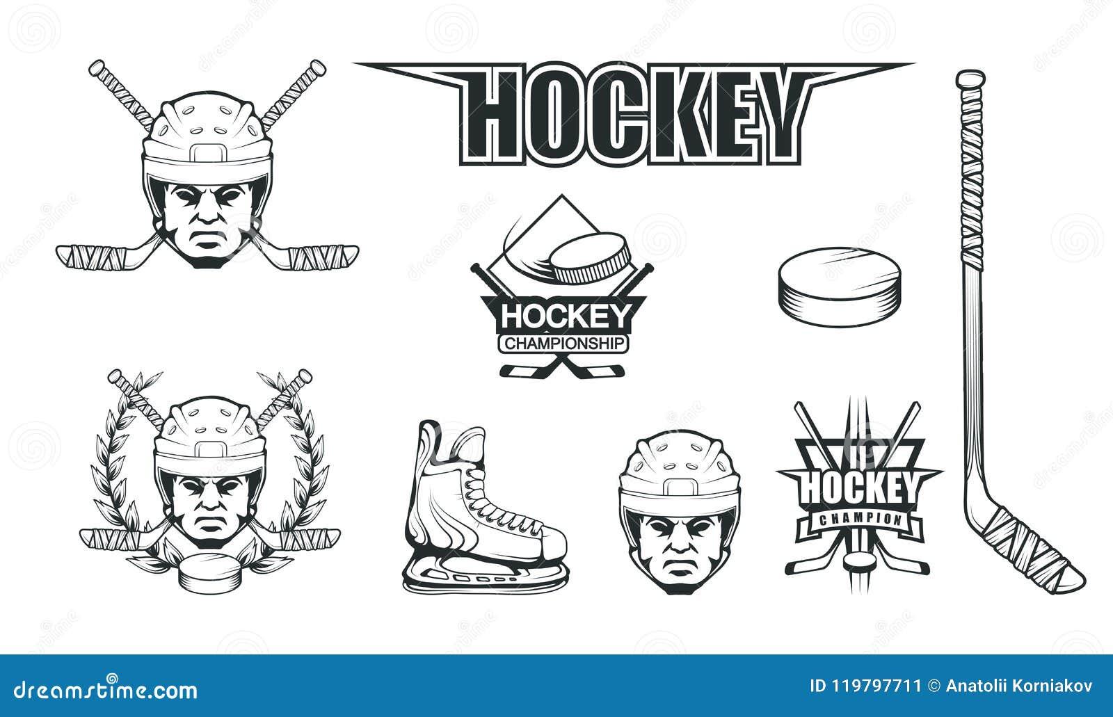 Hokejowy hełm Profesjonalista lodowa ilustracja Czaszka z hokejowym hełmem Lodowy gra logo Bramkarz maska z kijami
