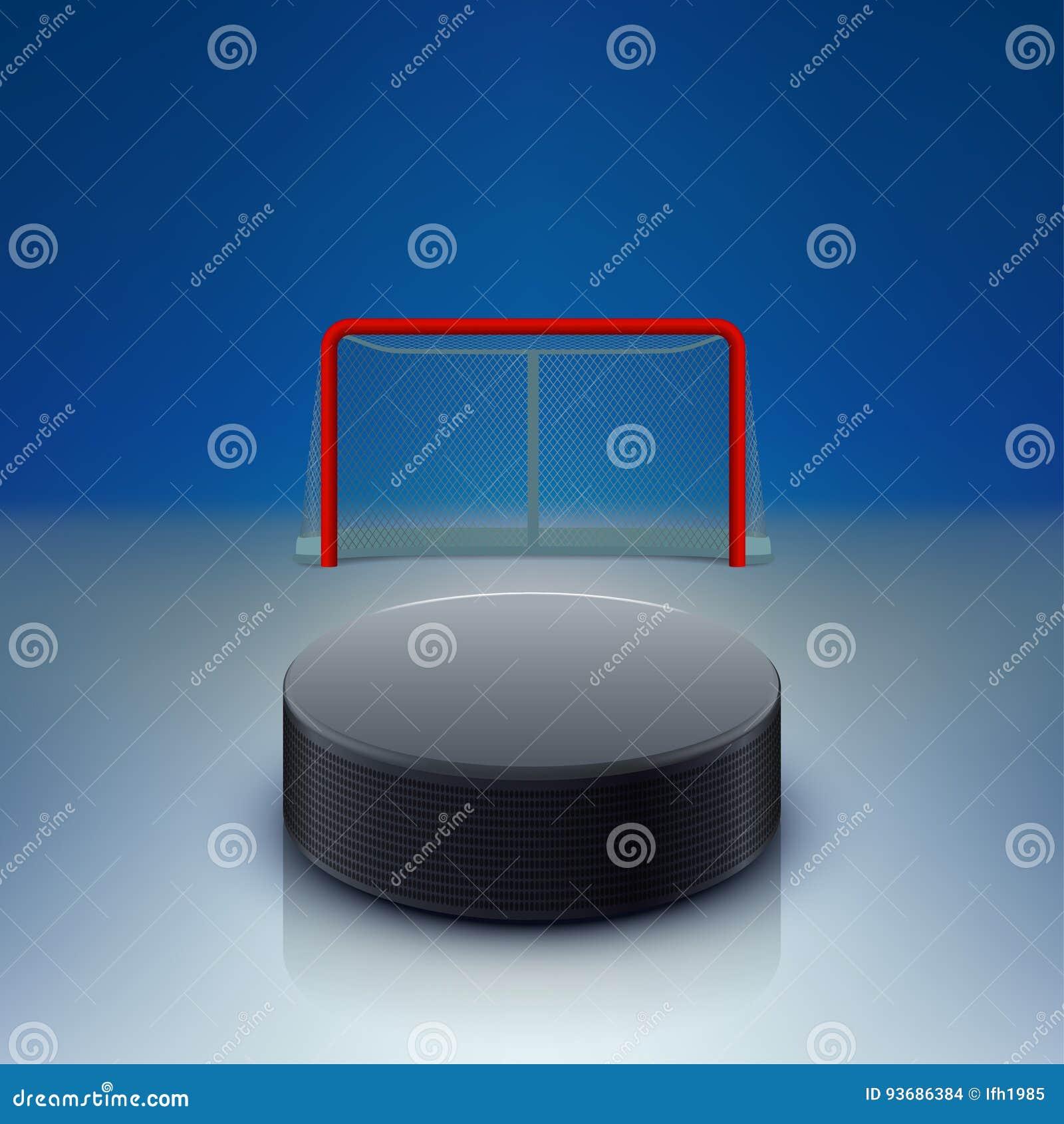 Hokejowy krążek hokojowy i bramy