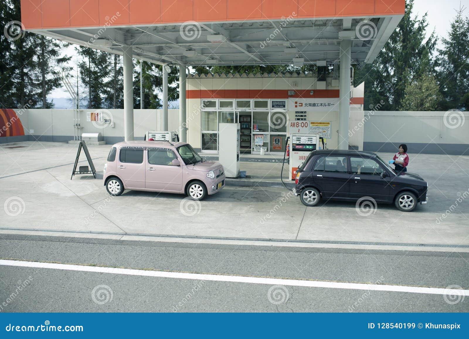 Hokkaido Japan Octobor52018 Two Mini Citycar Refuel In Eneos
