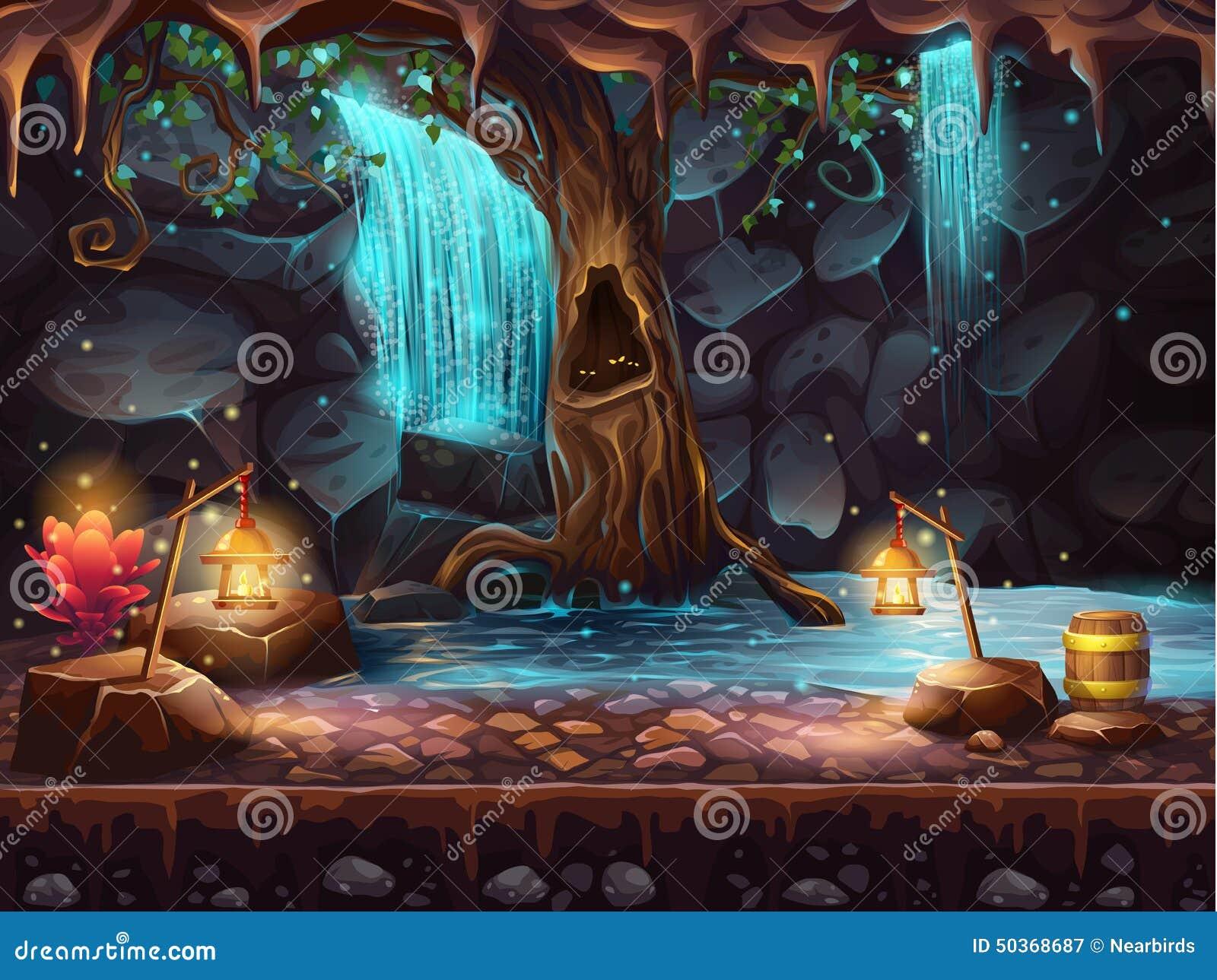 Hol met een waterval en een magische boom en vat goud