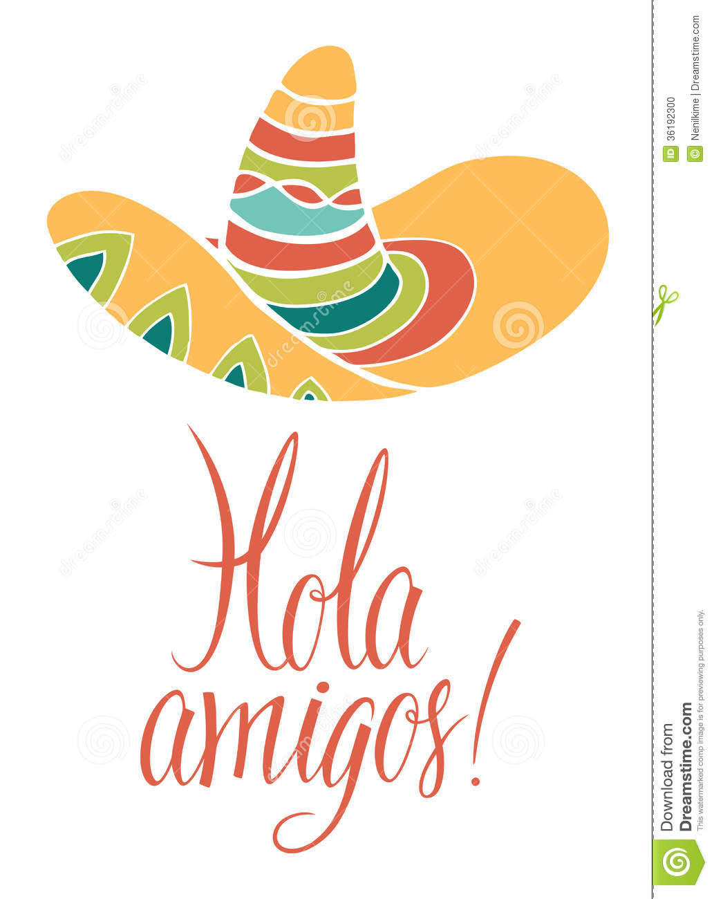 Hola Amigos. Card With Calligraphy And Bright Colored Sombrero Stock ...