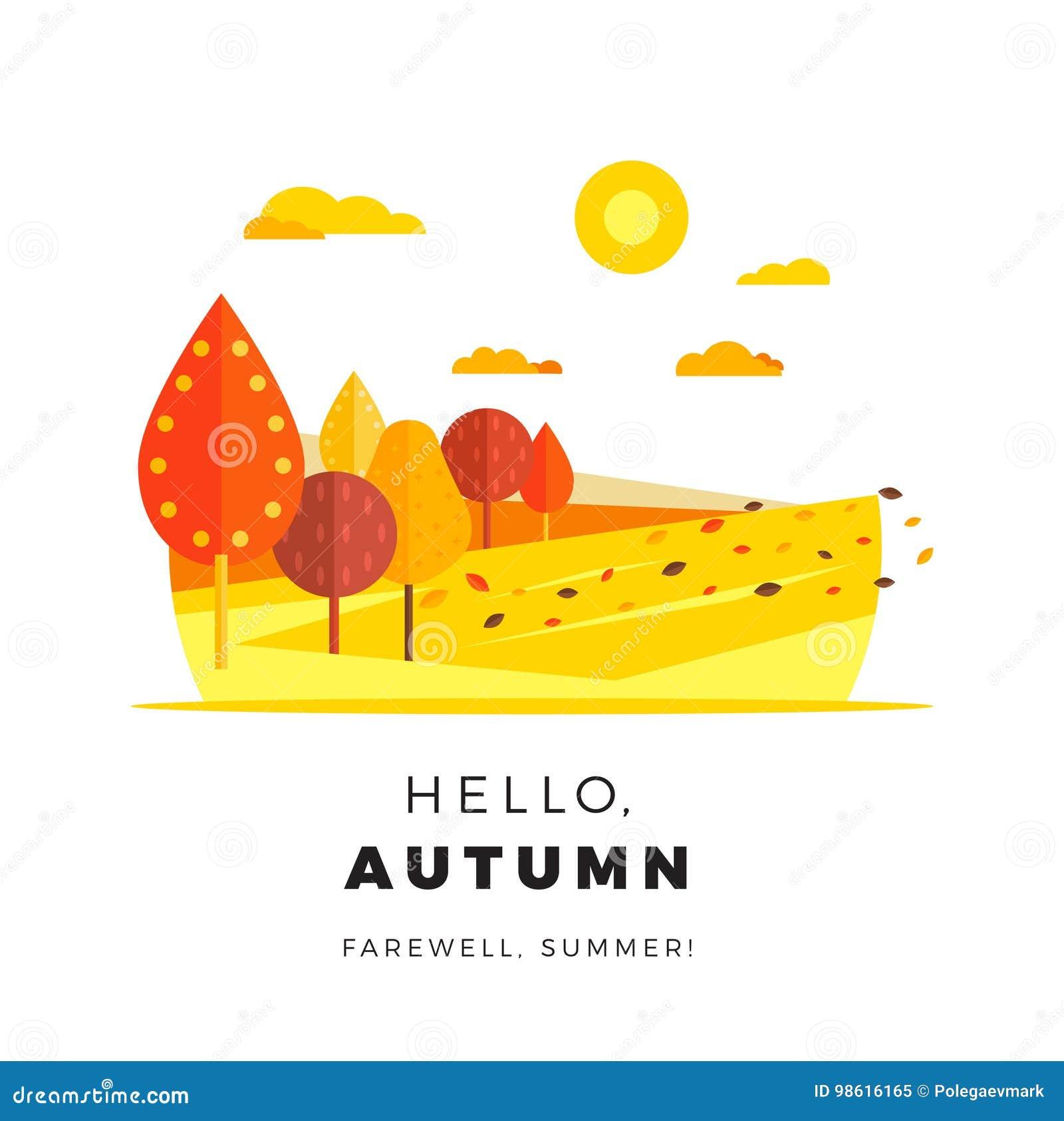 Hola bandera del web de la promoción del otoño con el texto del saludo Caída del promo