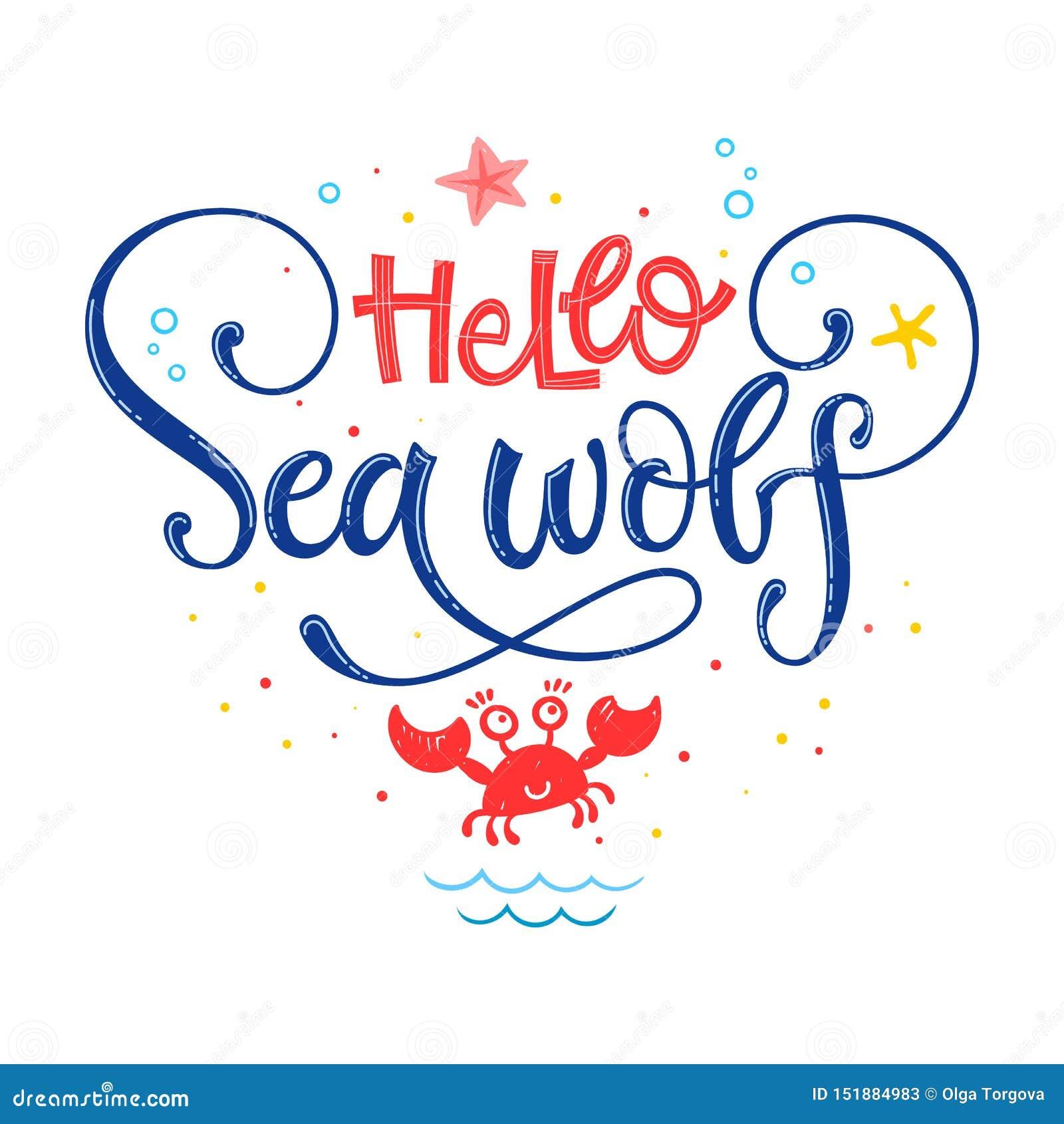 Hola Cita Del Lobo De Mar Mano Blanca Simple De La Fiesta De