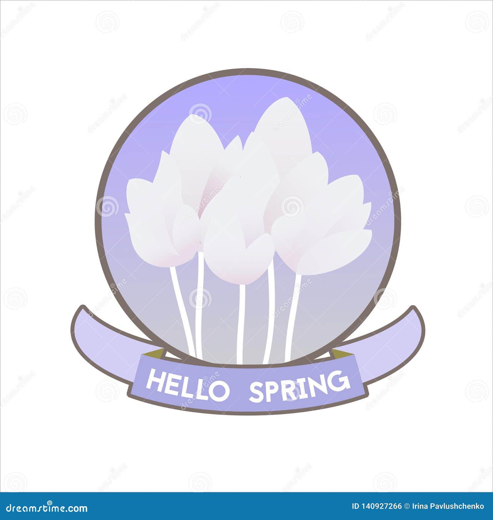 Hola etiqueta de la primavera con los tulipanes y la tipografía Ilustración del vector