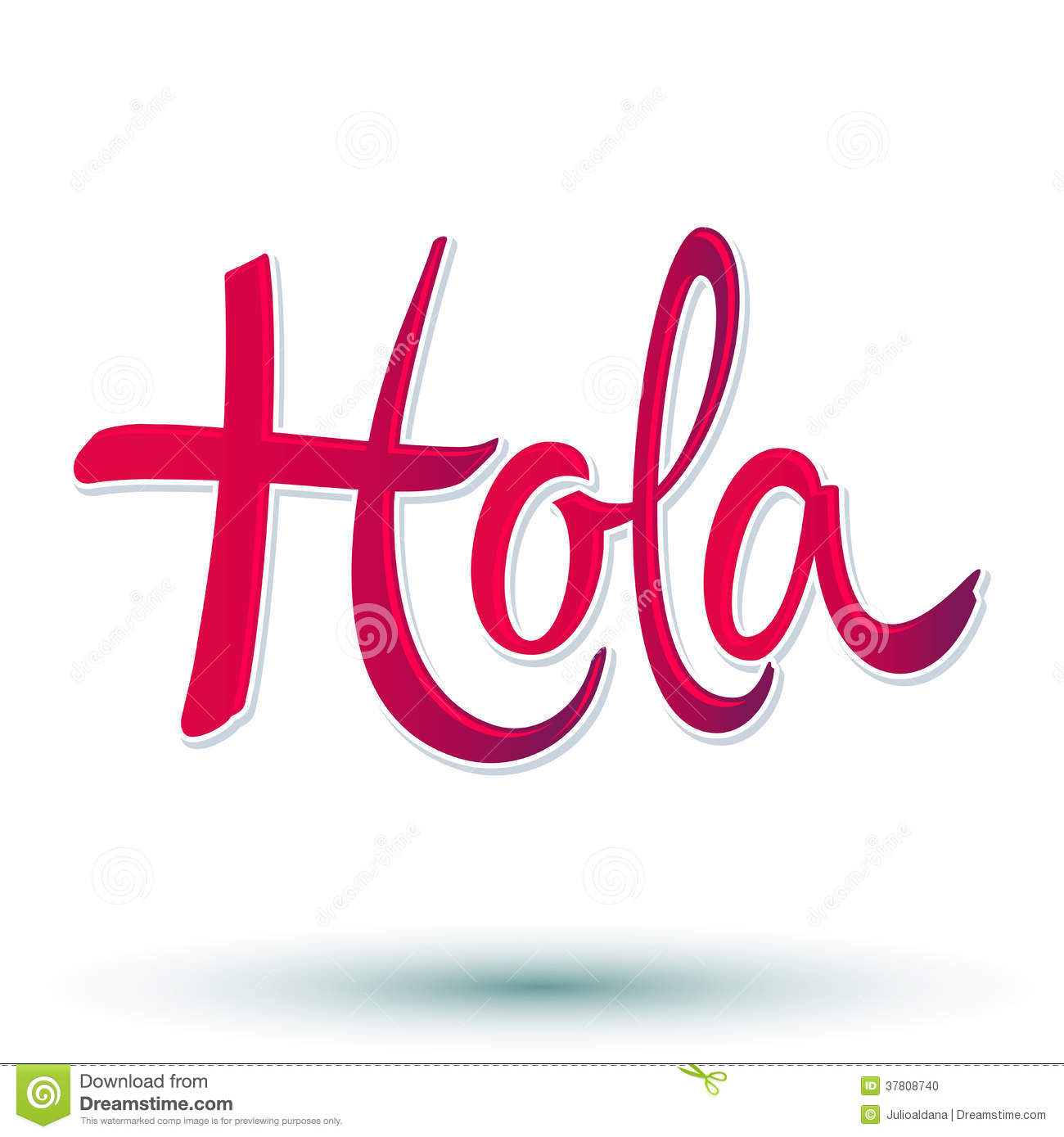 Hola - hello spanish text - vector lettering - eps 10 available.