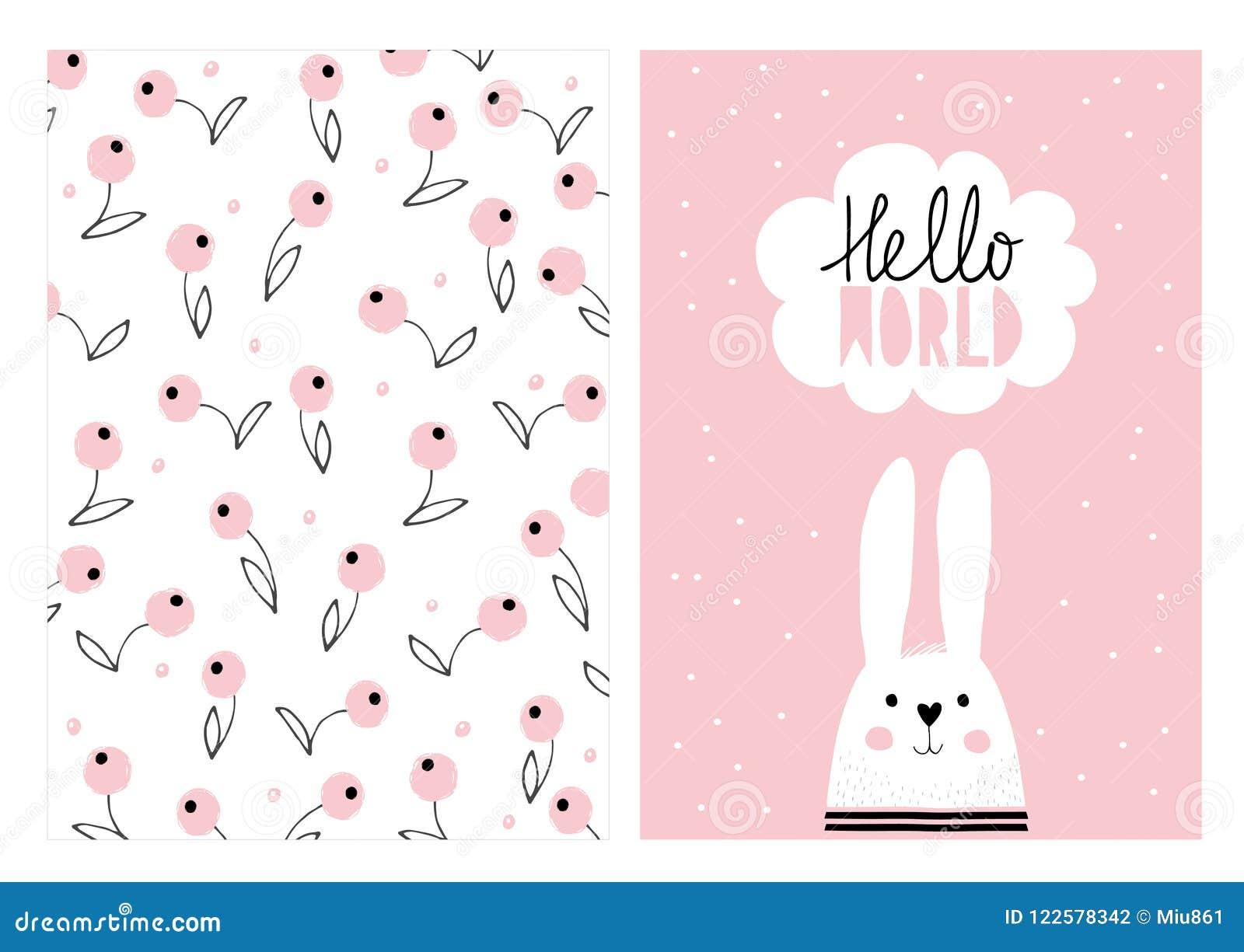 Hola mundo, conejo lindo blanco Sistema dibujado mano del ejemplo del vector de la fiesta de bienvenida al bebé