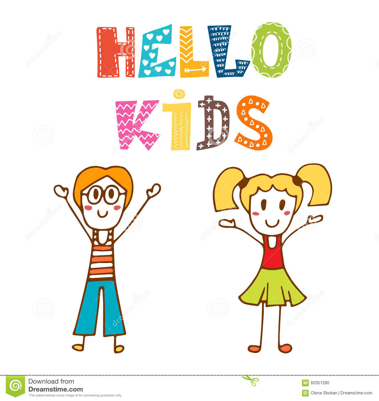 Hola niños Niños felices dibujados mano