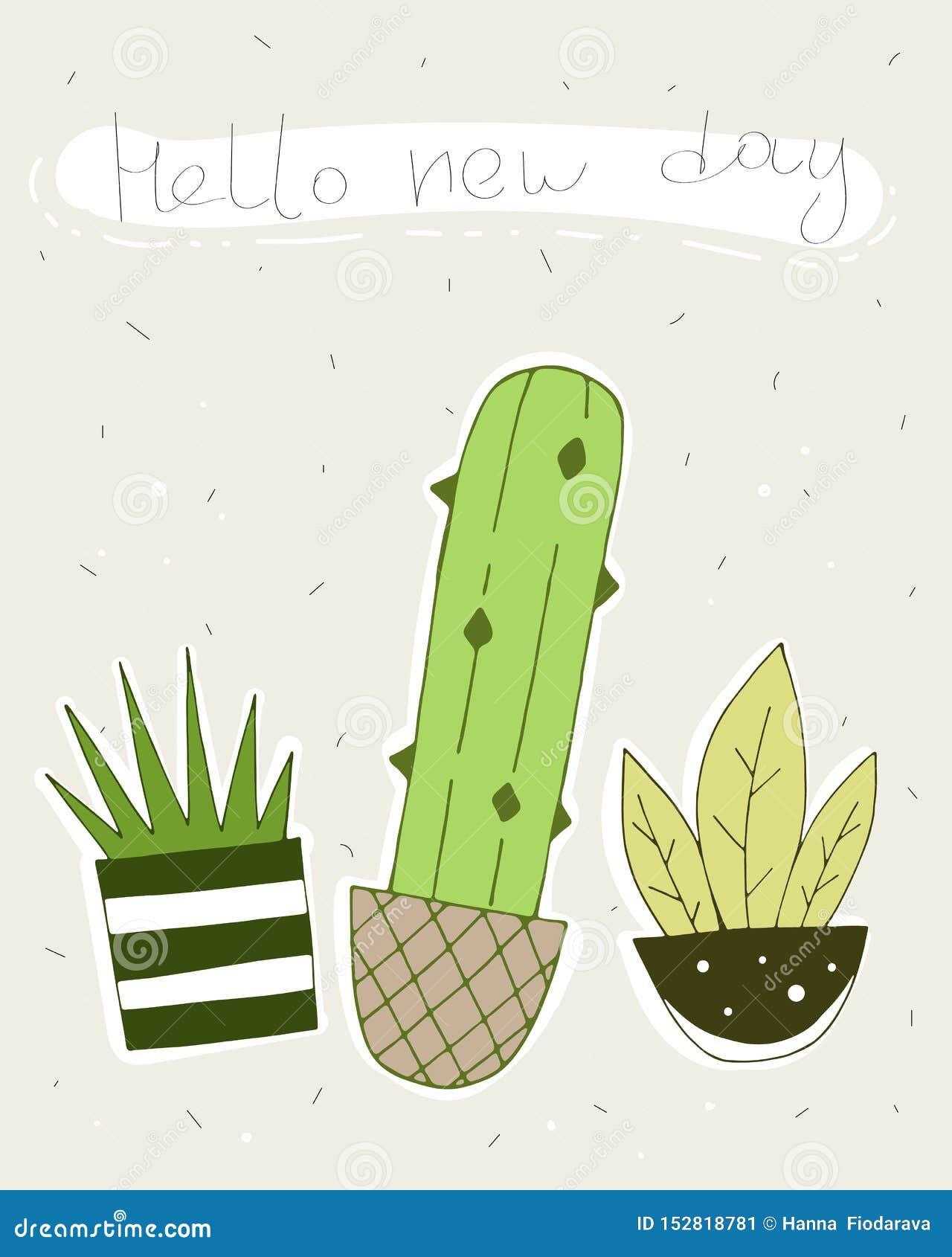 Hola nuevo d?a tarjeta del vector con los cactus lindos