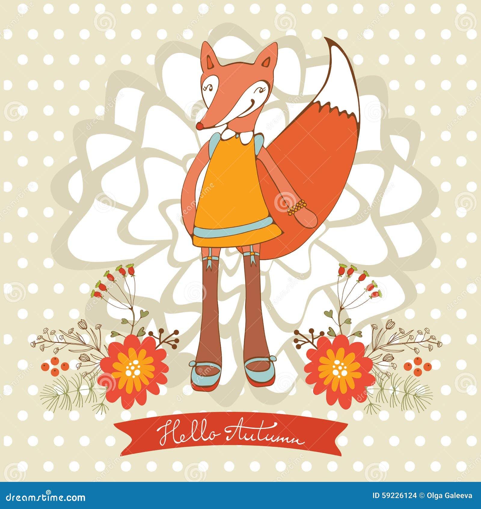 Hola tarjeta elegante del otoño con el carácter lindo del zorro