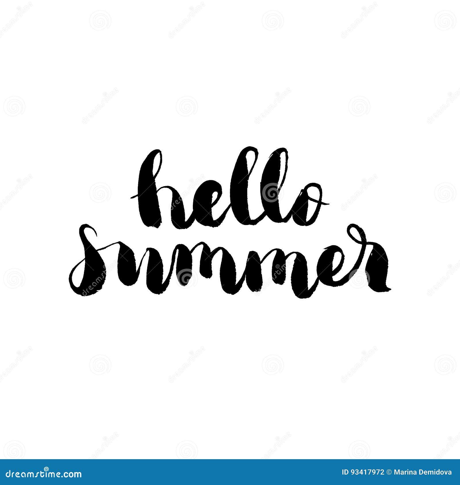 Hola verano - mano dibujada poniendo letras a vector