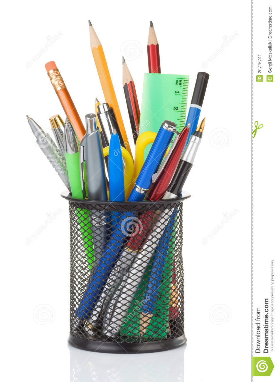 Holder Full Of Pen And Pencil Stock Image Image 20775741
