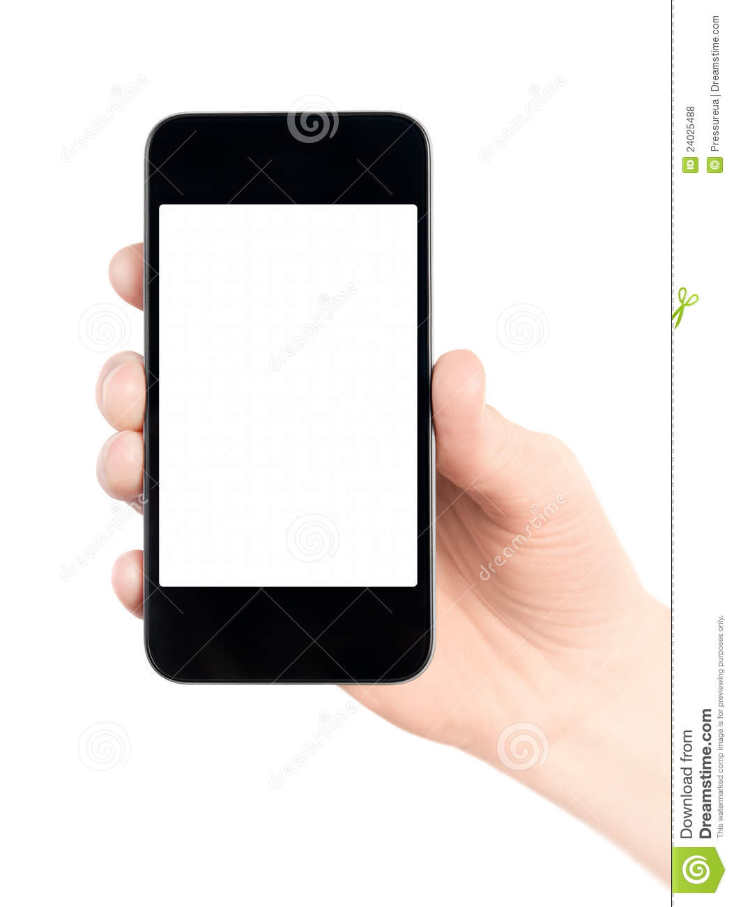 Holding Apple Iphone With Blank Screen Isolated