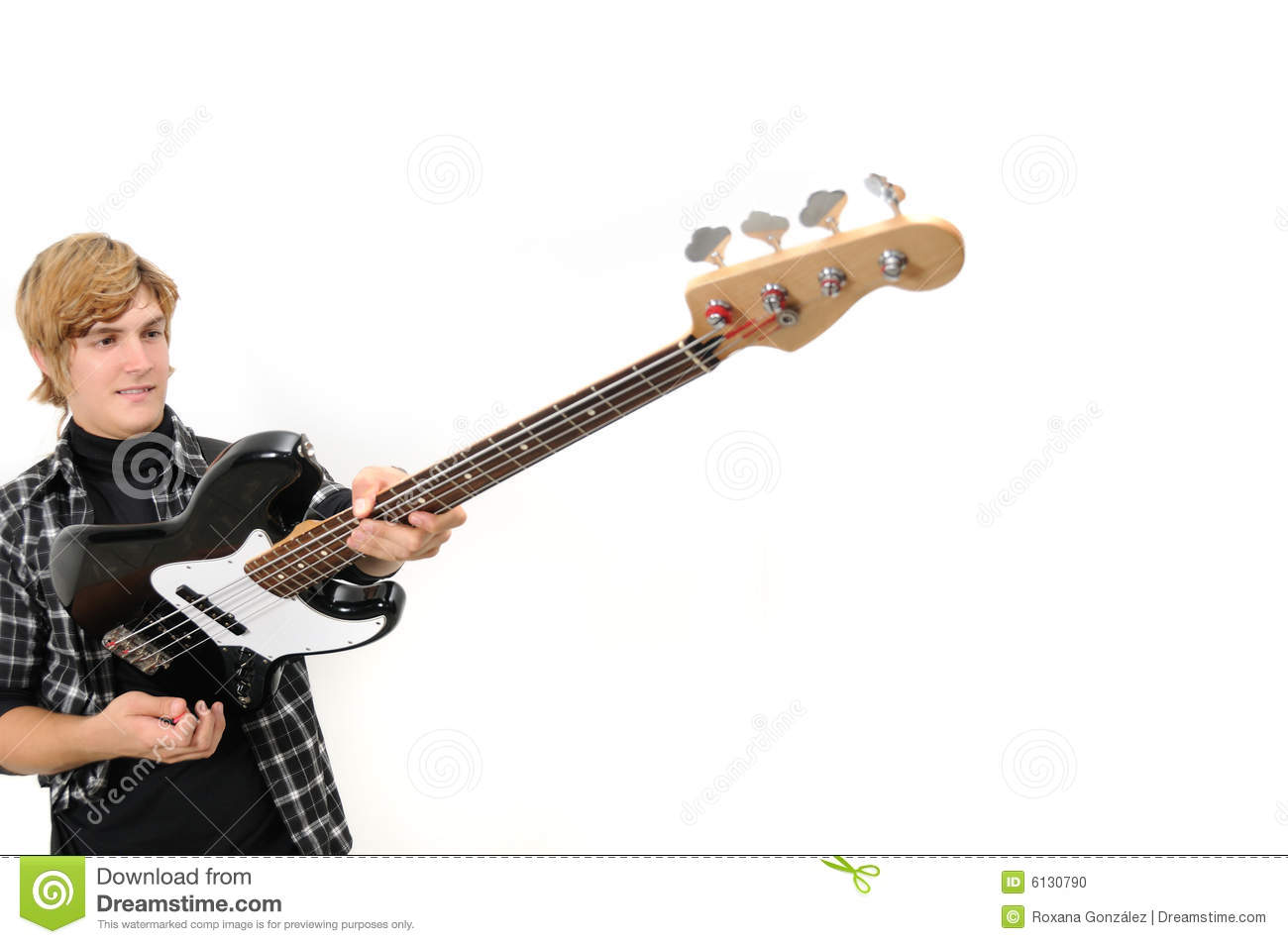 Holding Bass Guitar Stock Photo Image Of Male Handsome 6130790
