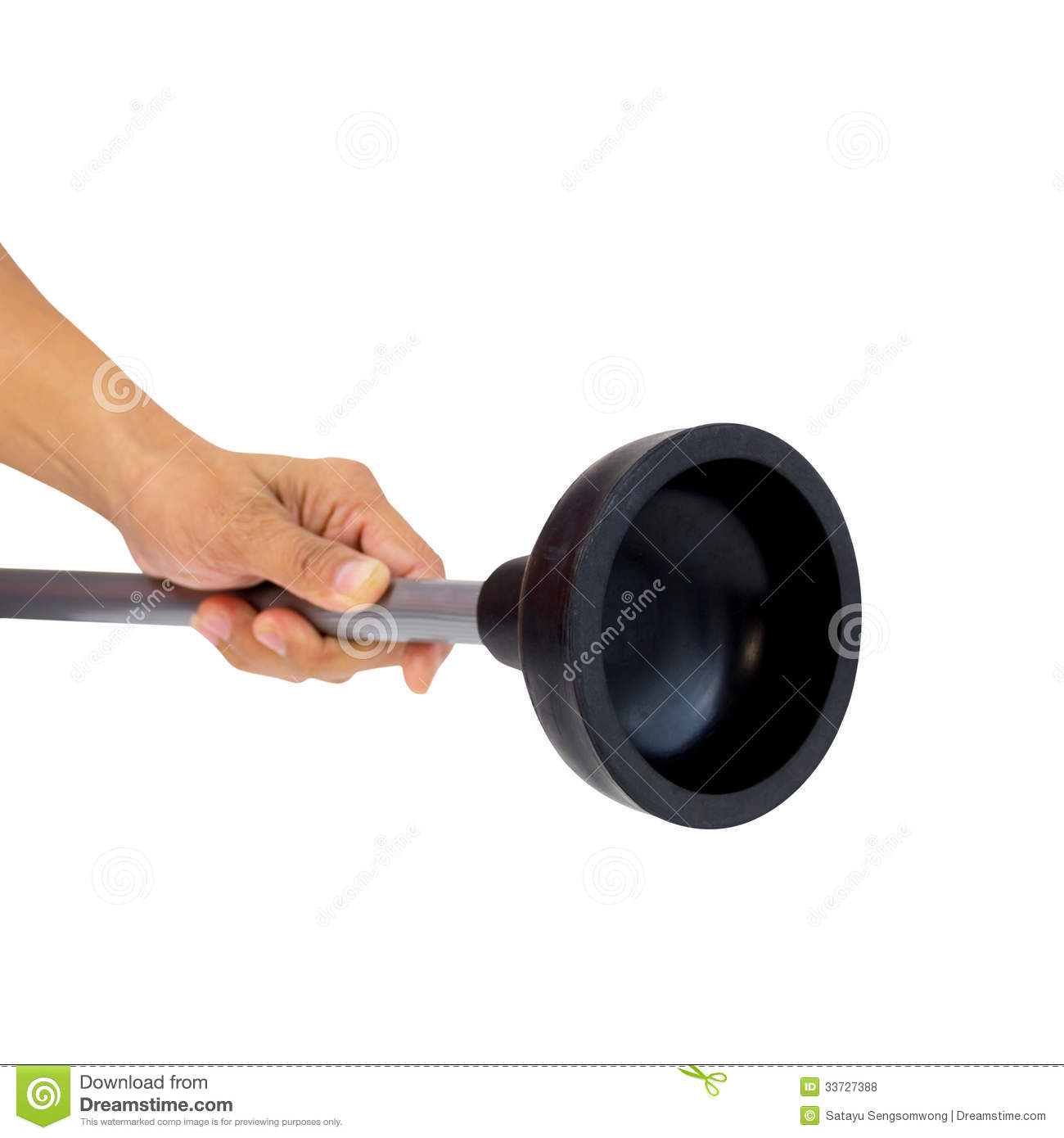 background. Holding Black Rubber Plunger For Toilet Pump Isolated Royalty Free