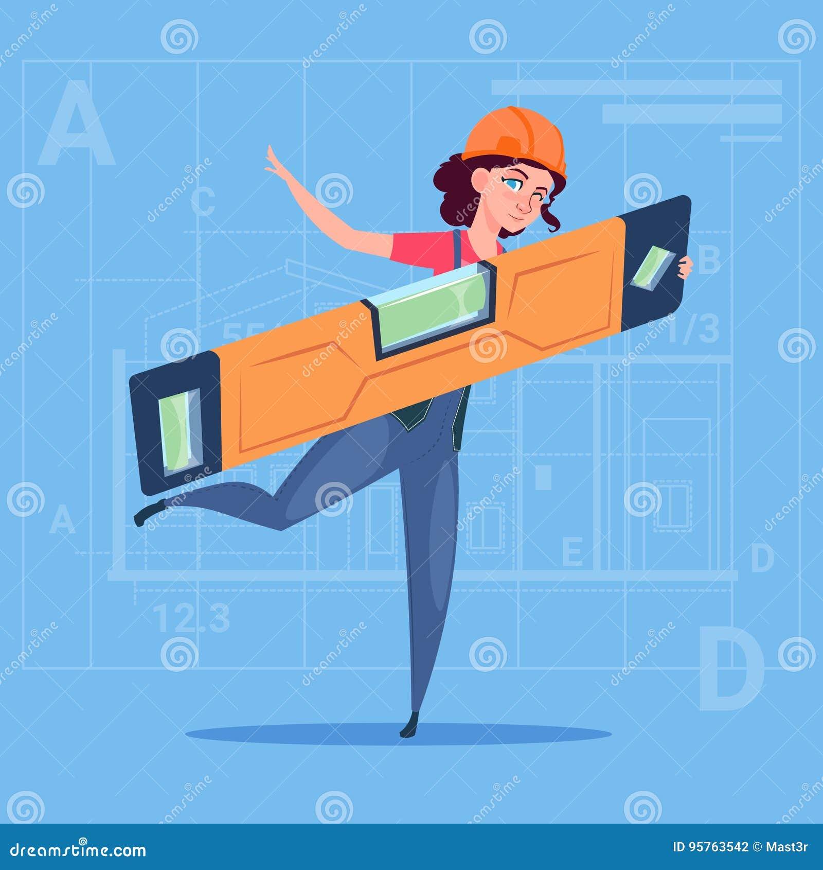 Holding Carpenter Level för tecknad filmkvinnabyggmästare bärande likformig och hjälmbyggnadsarbetare Over Abstract Plan