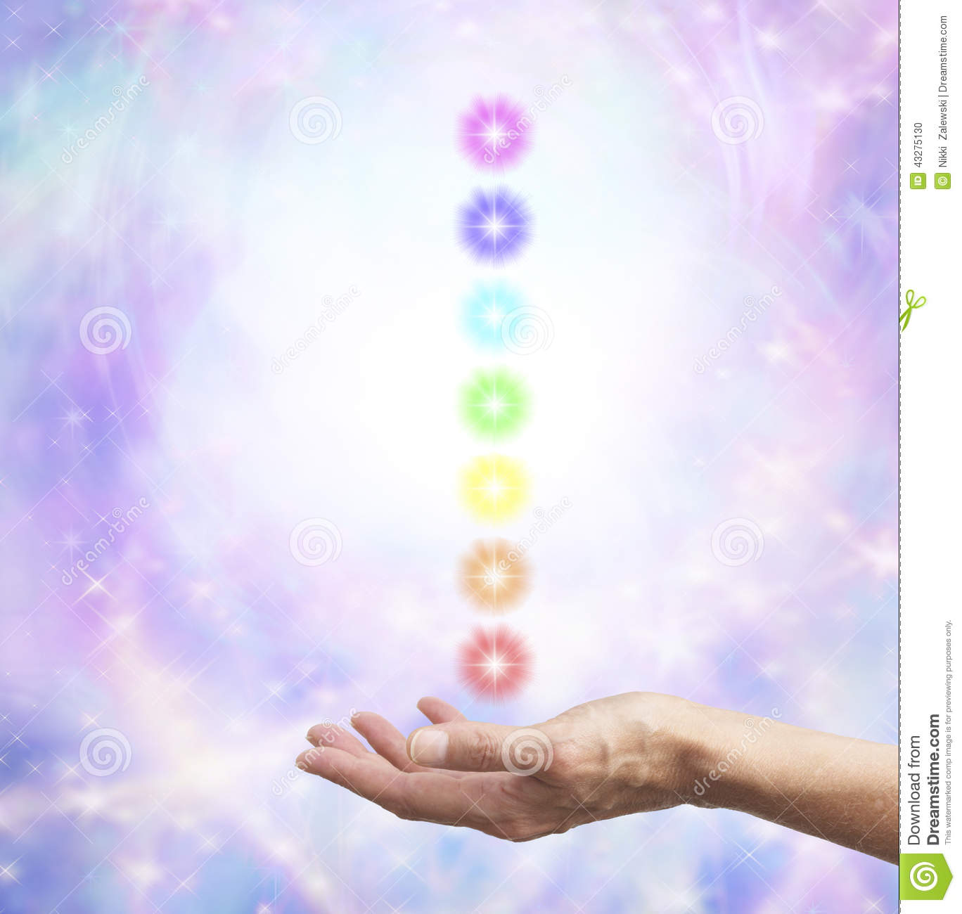 Holding Chakra Energy In Open Hand Stock Photo Image