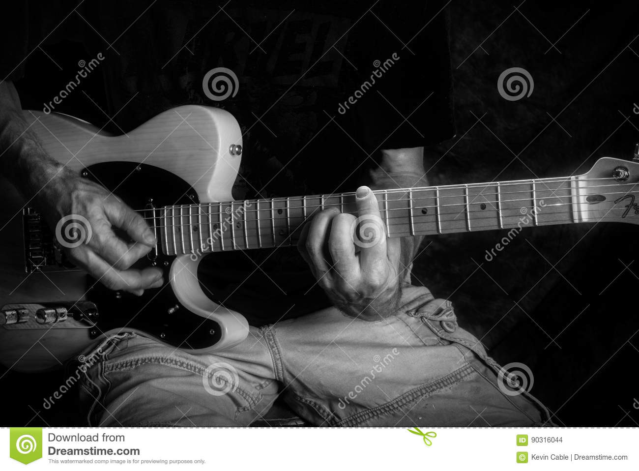 Holding Chords On Electric Guitar Black White Stock Photo Image
