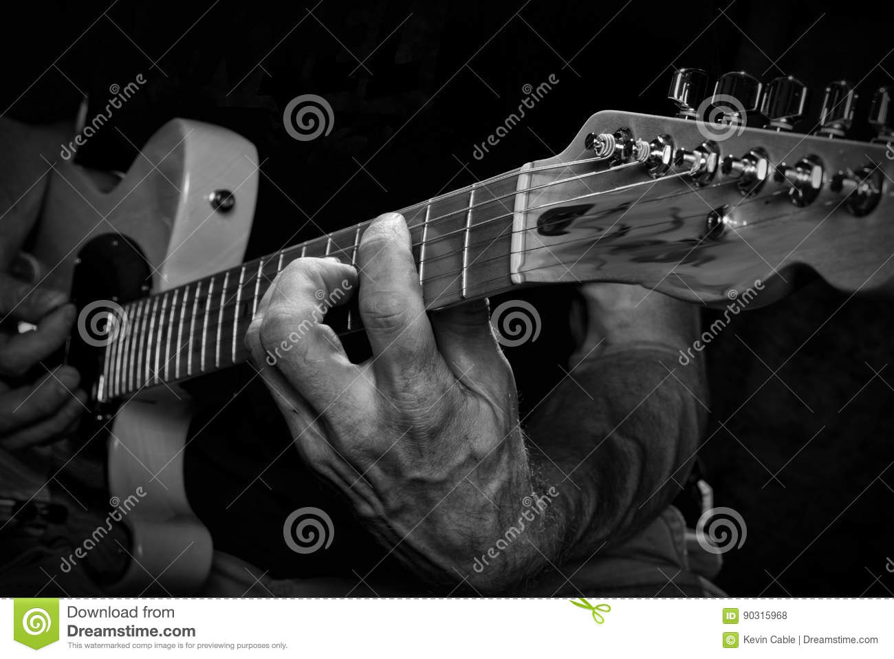 Holding Chords On Electric Guitar Stock Photo Image Of Musician