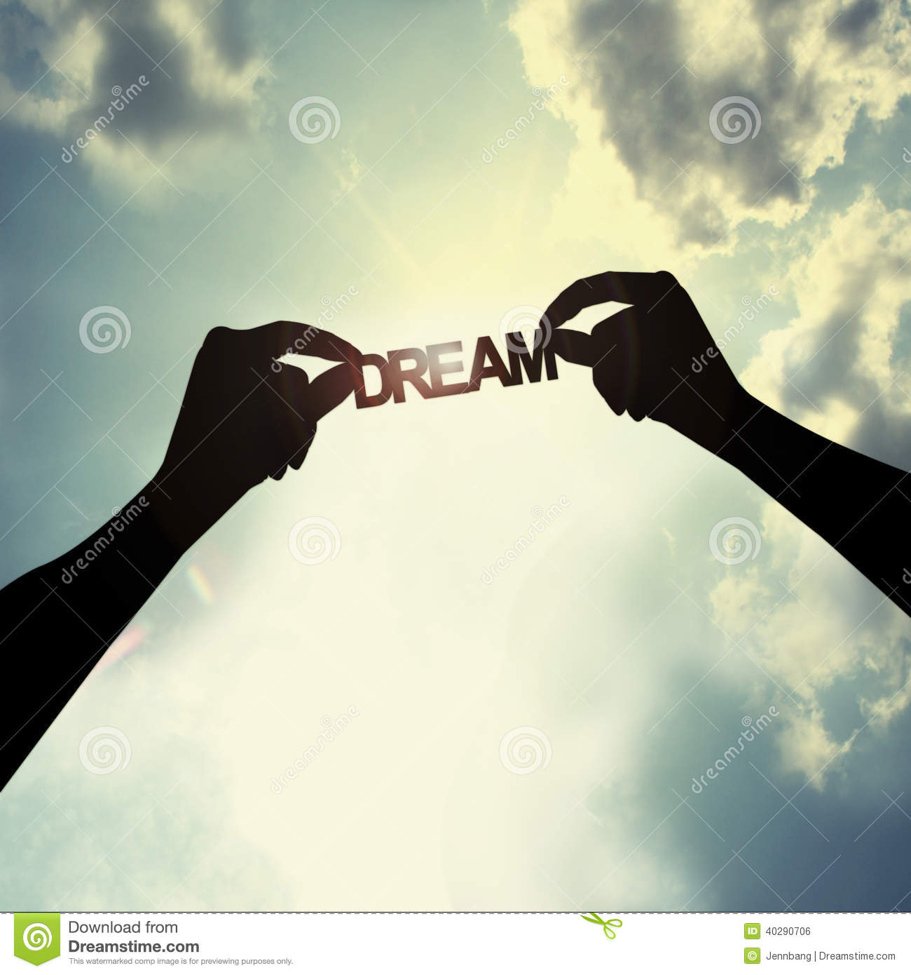 holding a dream in sky stock photo image of background 40290706
