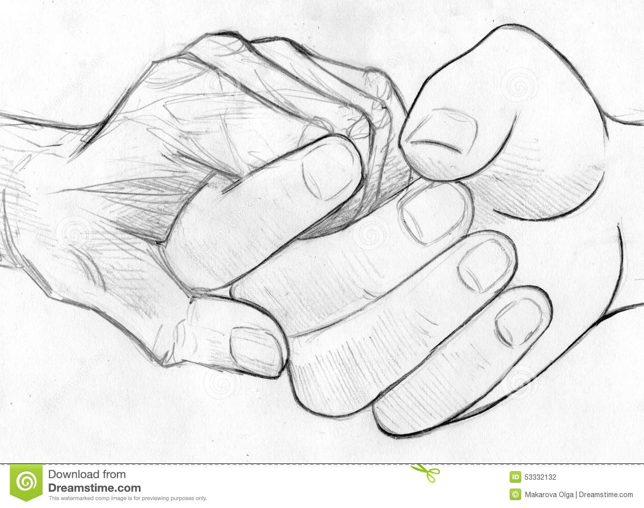 Hand drawn pencil sketch of two hands one young and one old holding symbol of help compassion and love